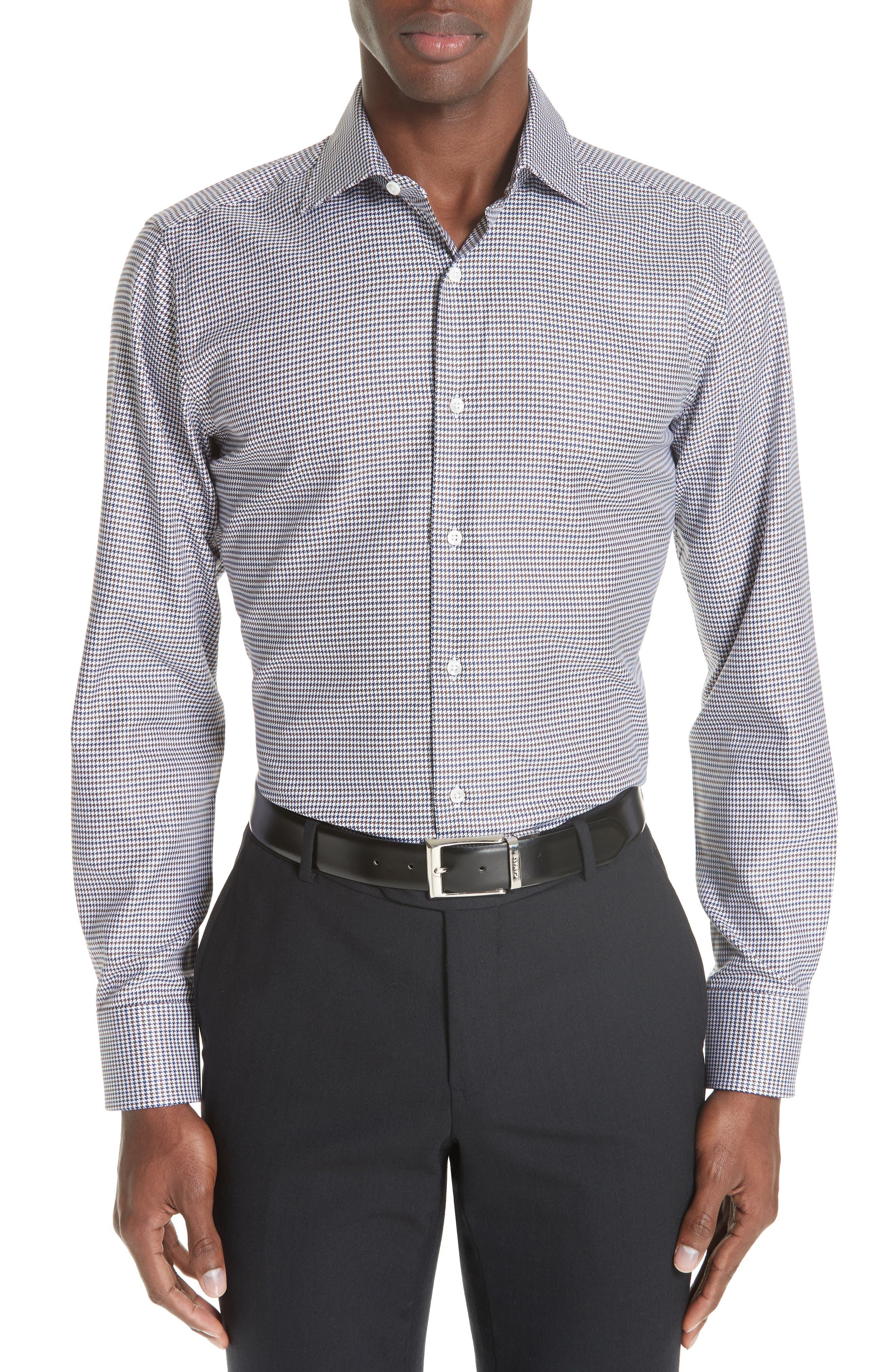 Regular Fit Houndstooth Dress Shirt,                         Main,                         color, NAVY/ BROWN