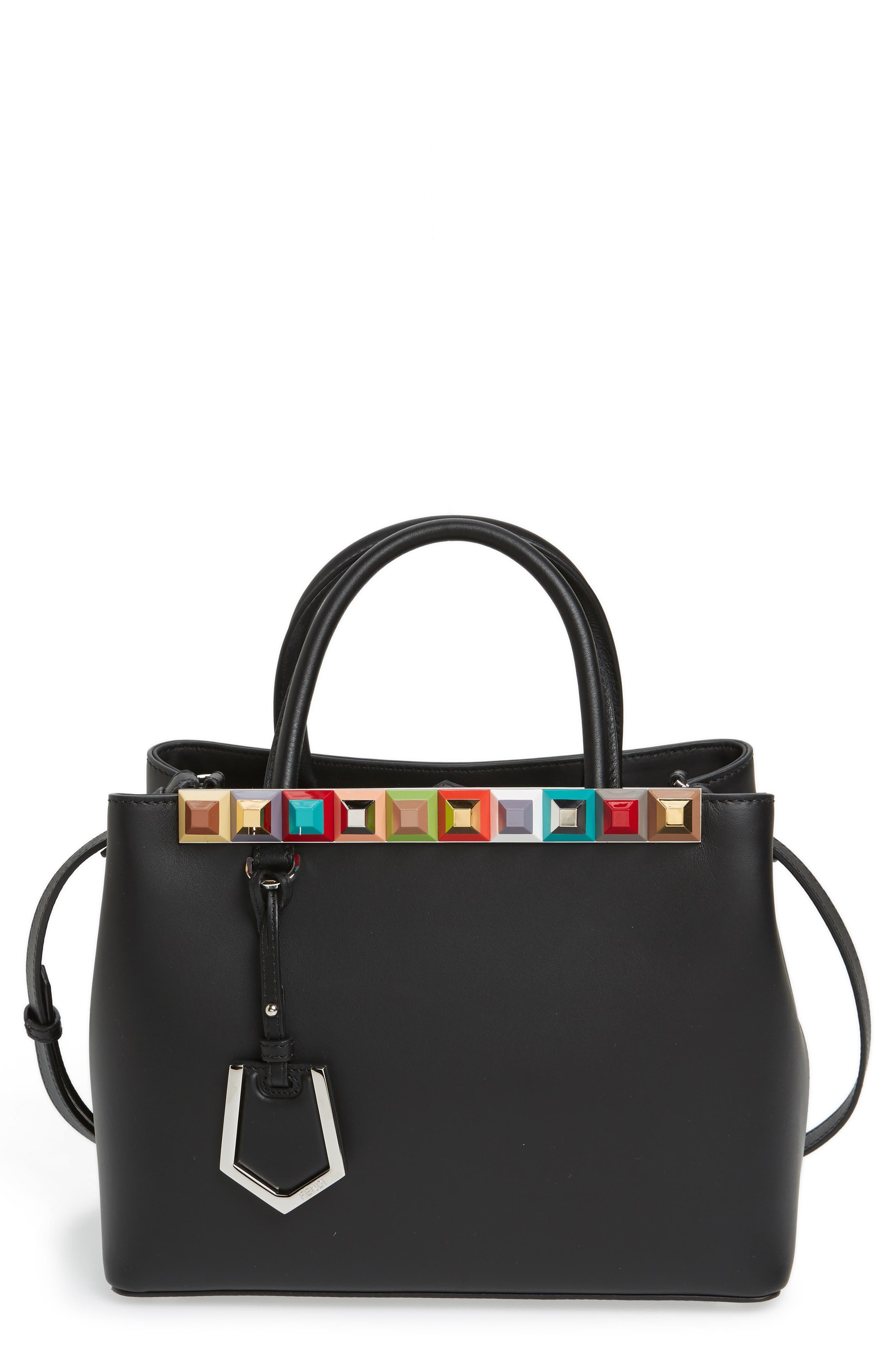 Petite 2Jours Studded Calfskin Leather Shopper,                         Main,                         color, 012