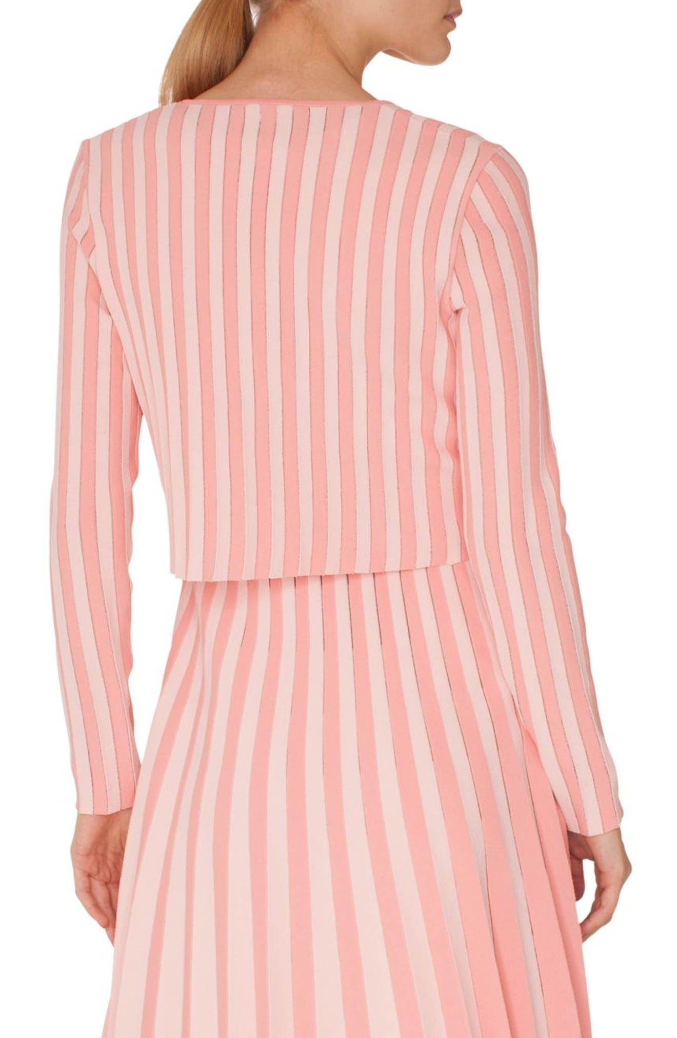 Stripe Cardigan Bolero,                             Alternate thumbnail 2, color,                             ROSE - PEONY