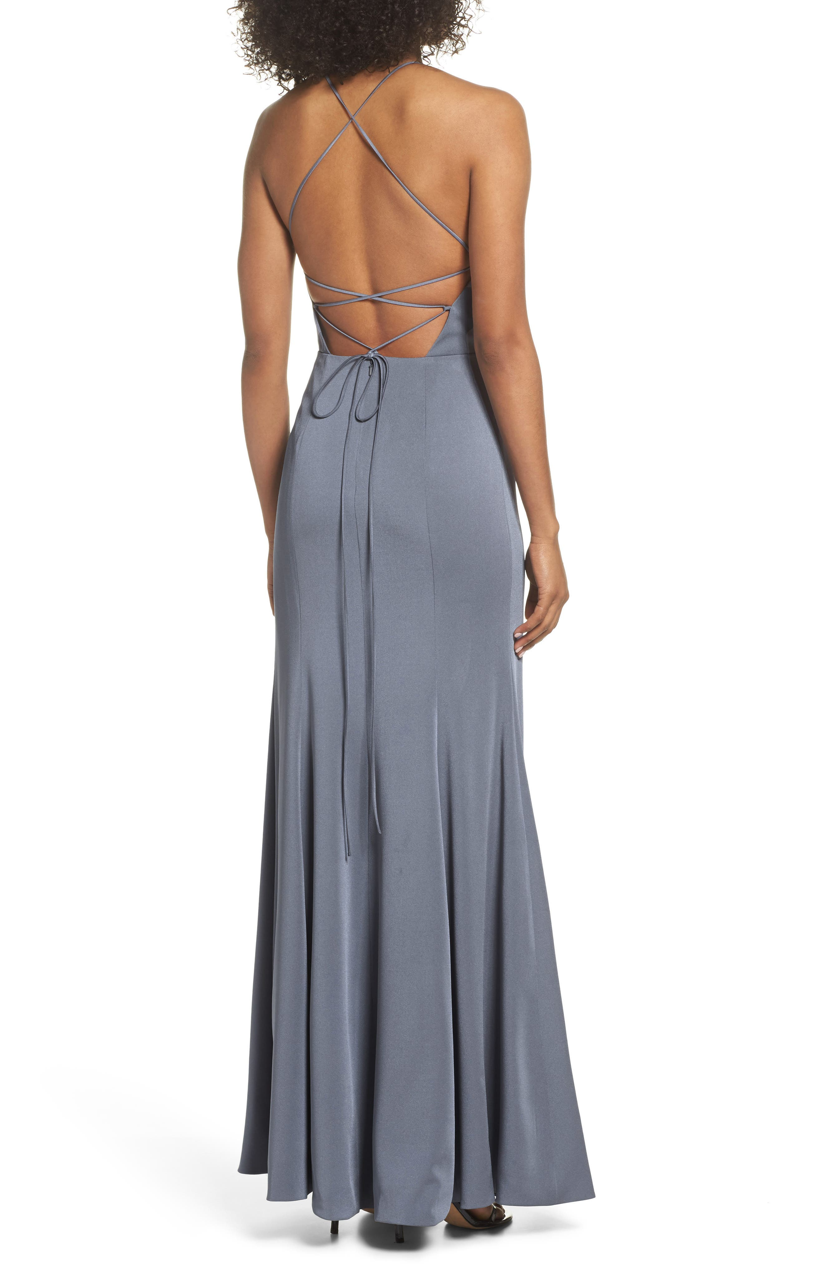 Naomi Luxe Crepe Halter Gown,                             Alternate thumbnail 2, color,                             HYDRANGEA