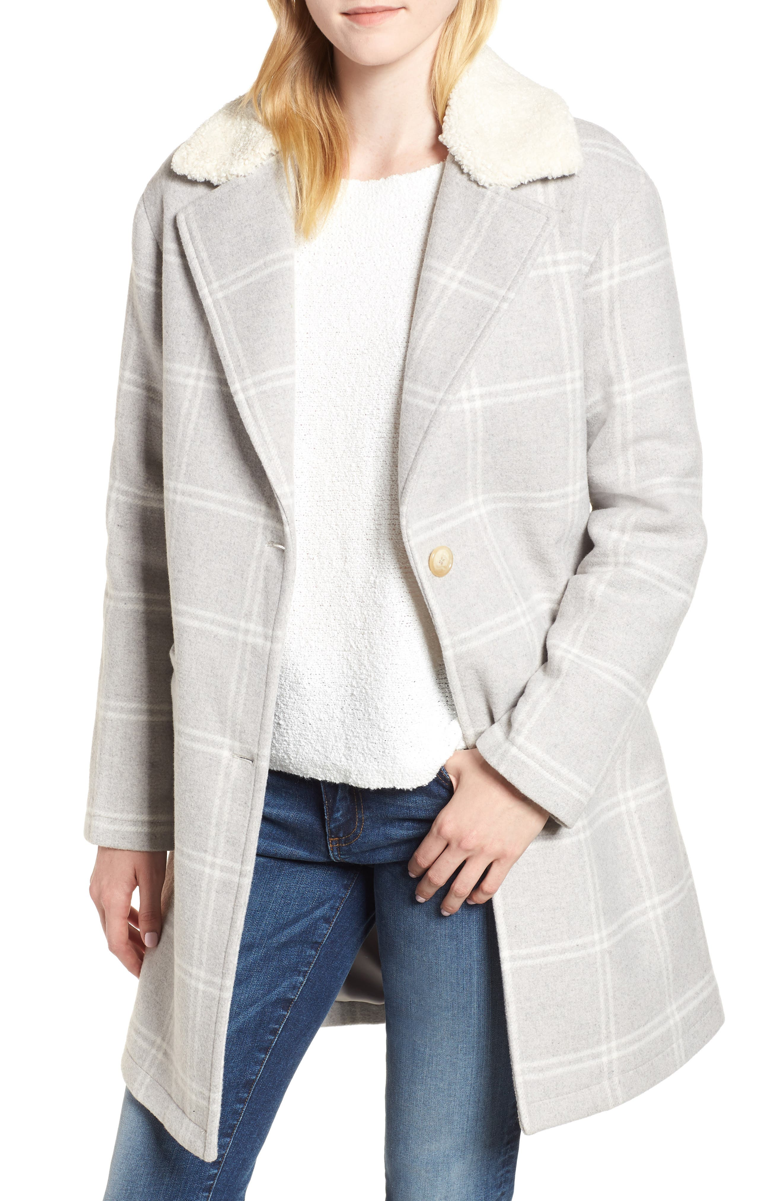 Wool Top Coat,                             Main thumbnail 1, color,                             GREY PLAID WOOL