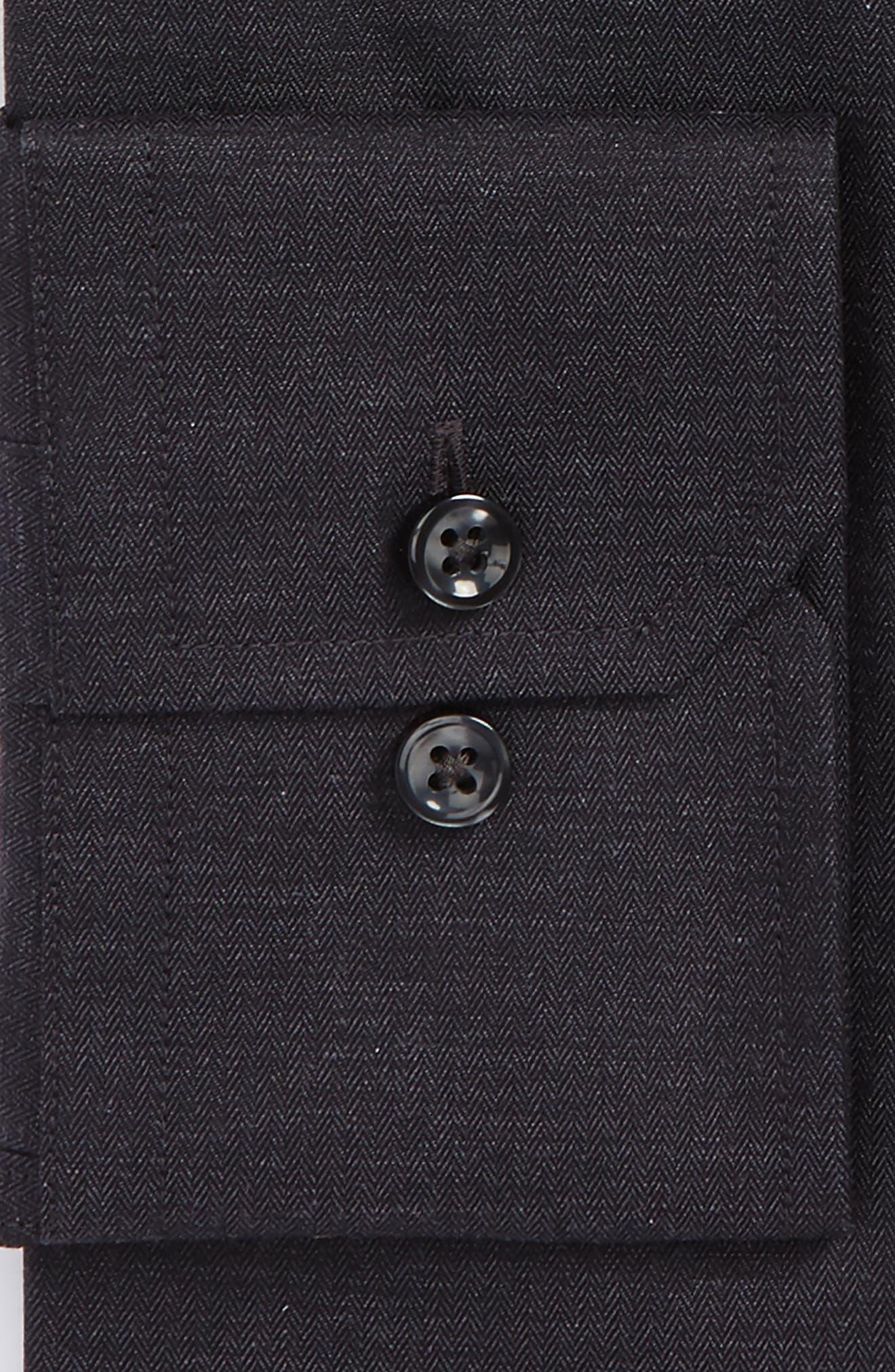 Trim Fit Herringbone Dress Shirt,                             Alternate thumbnail 4, color,