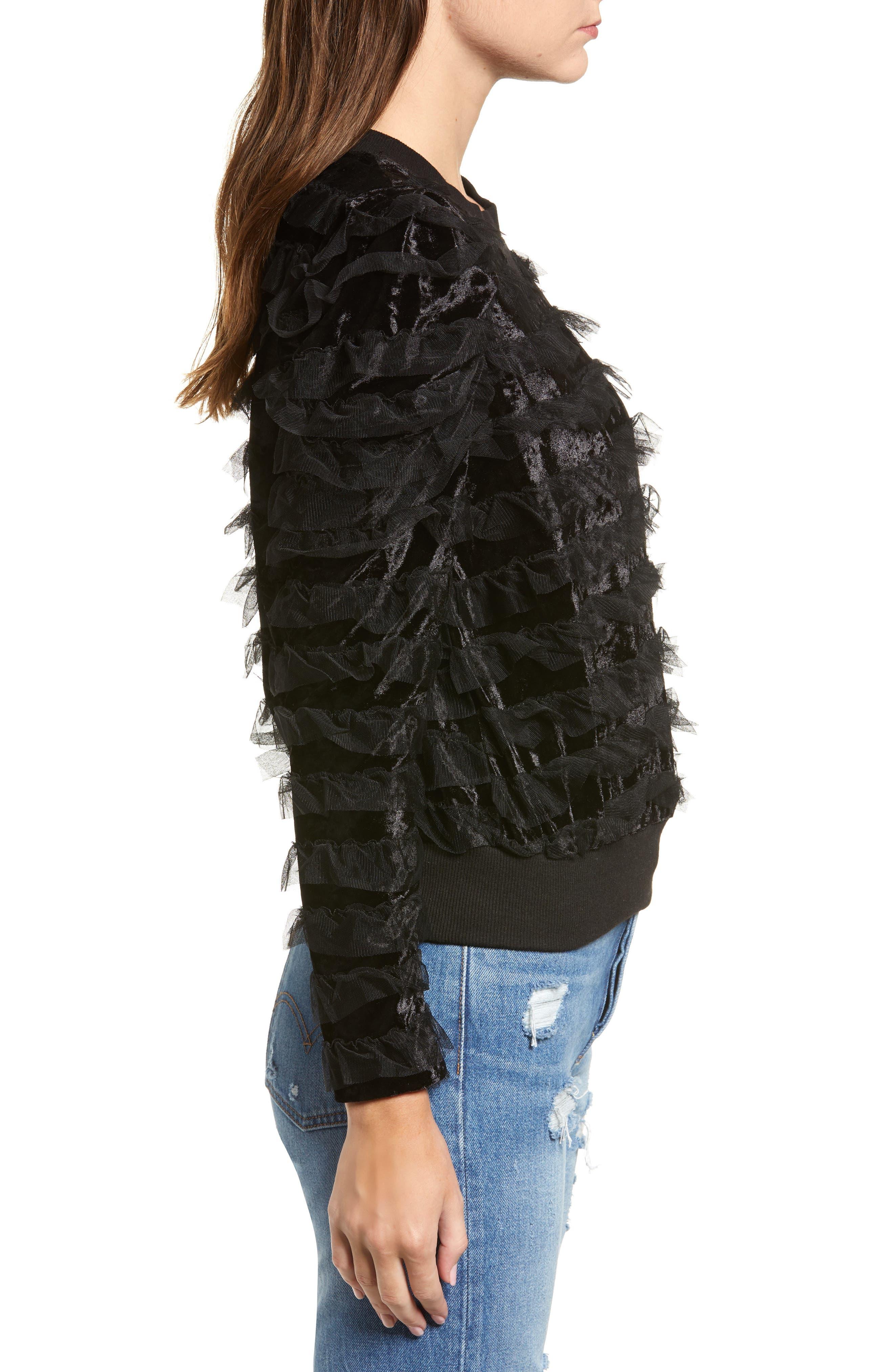 Tulle Ruffle Velour Pullover,                             Alternate thumbnail 3, color,                             BLACK MESH