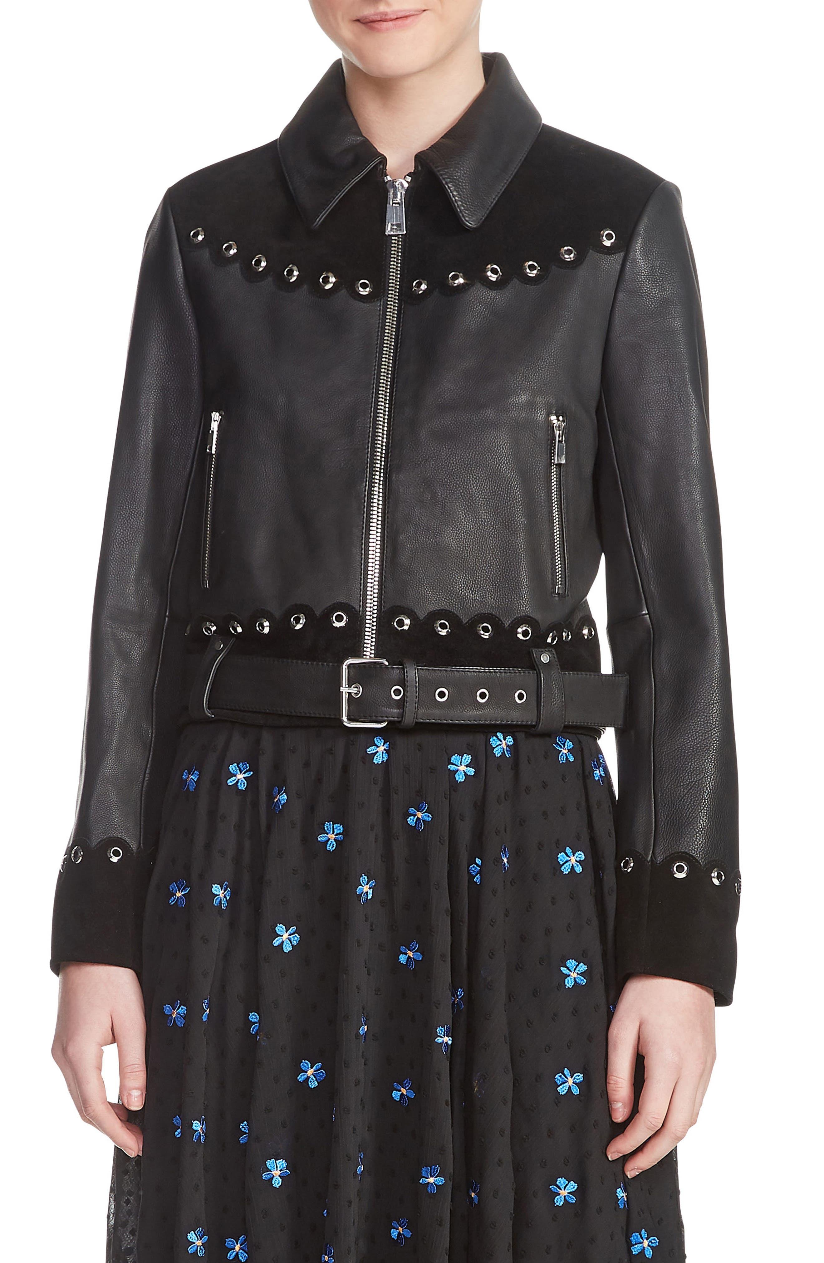 Embellished Leather Jacket,                         Main,                         color, 001