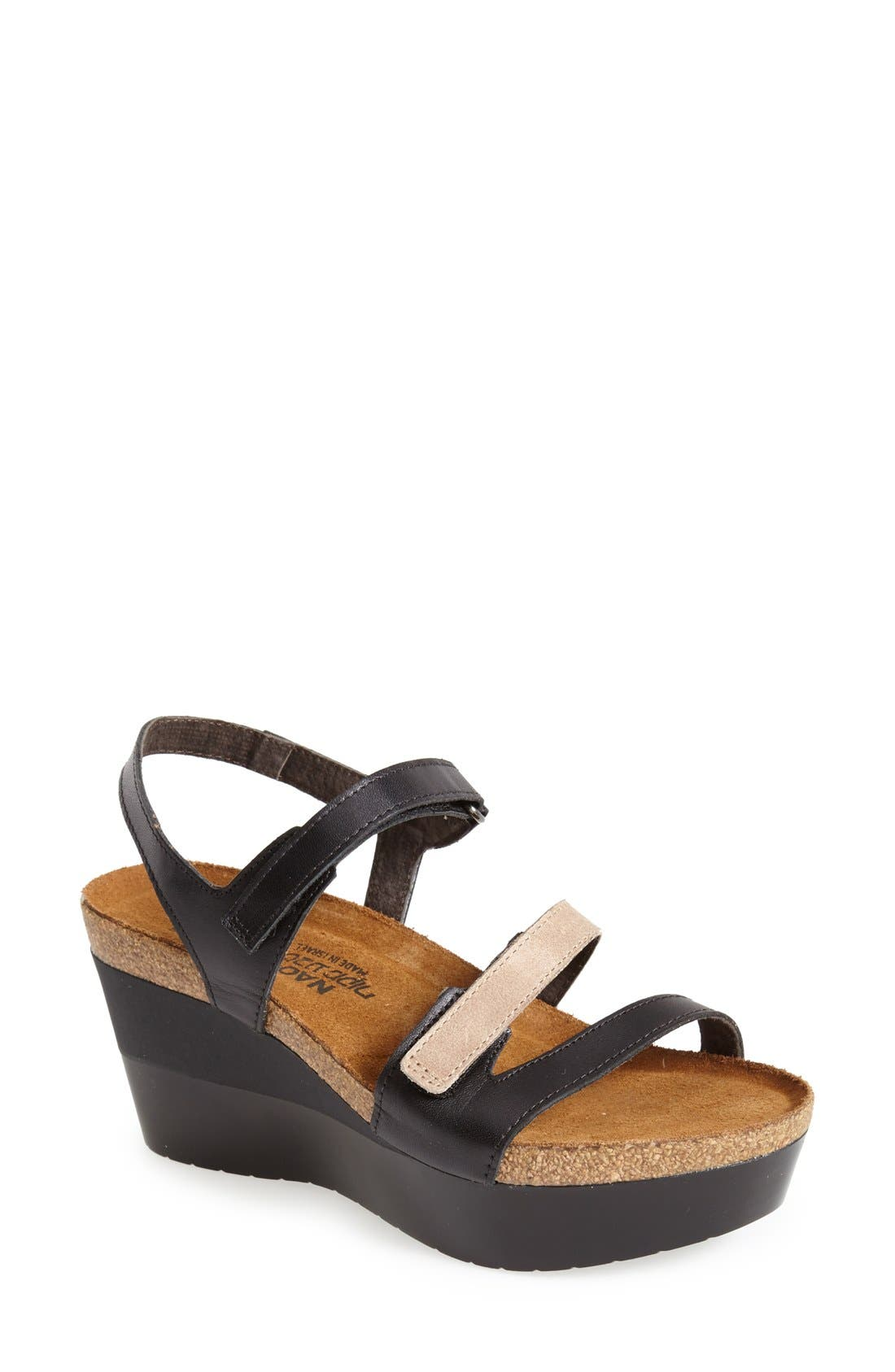 'Canaan' Wedge Sandal,                             Main thumbnail 1, color,                             BLACK/ BEIGE