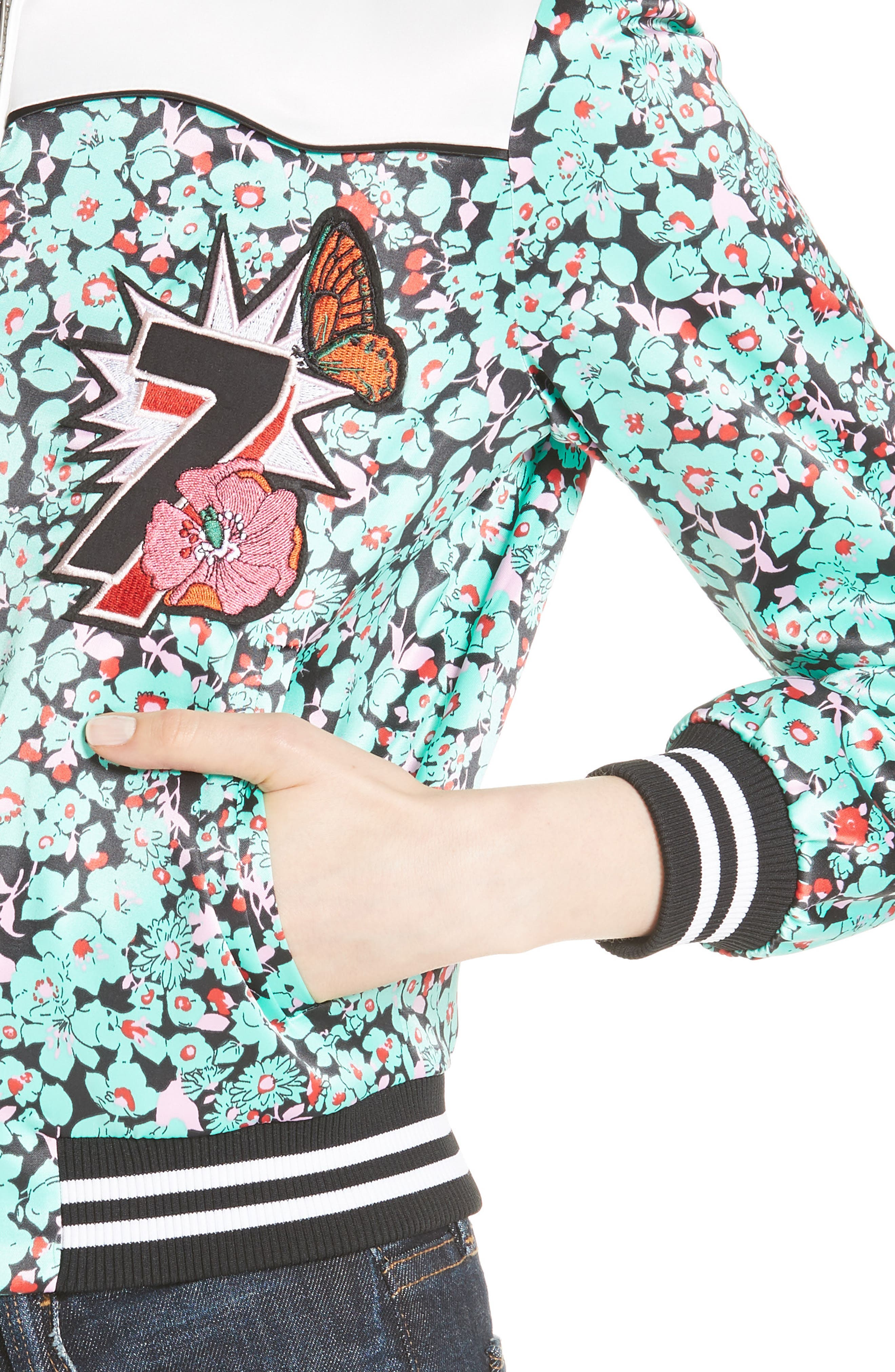 Bert Floral Bomber Jacket,                             Alternate thumbnail 4, color,