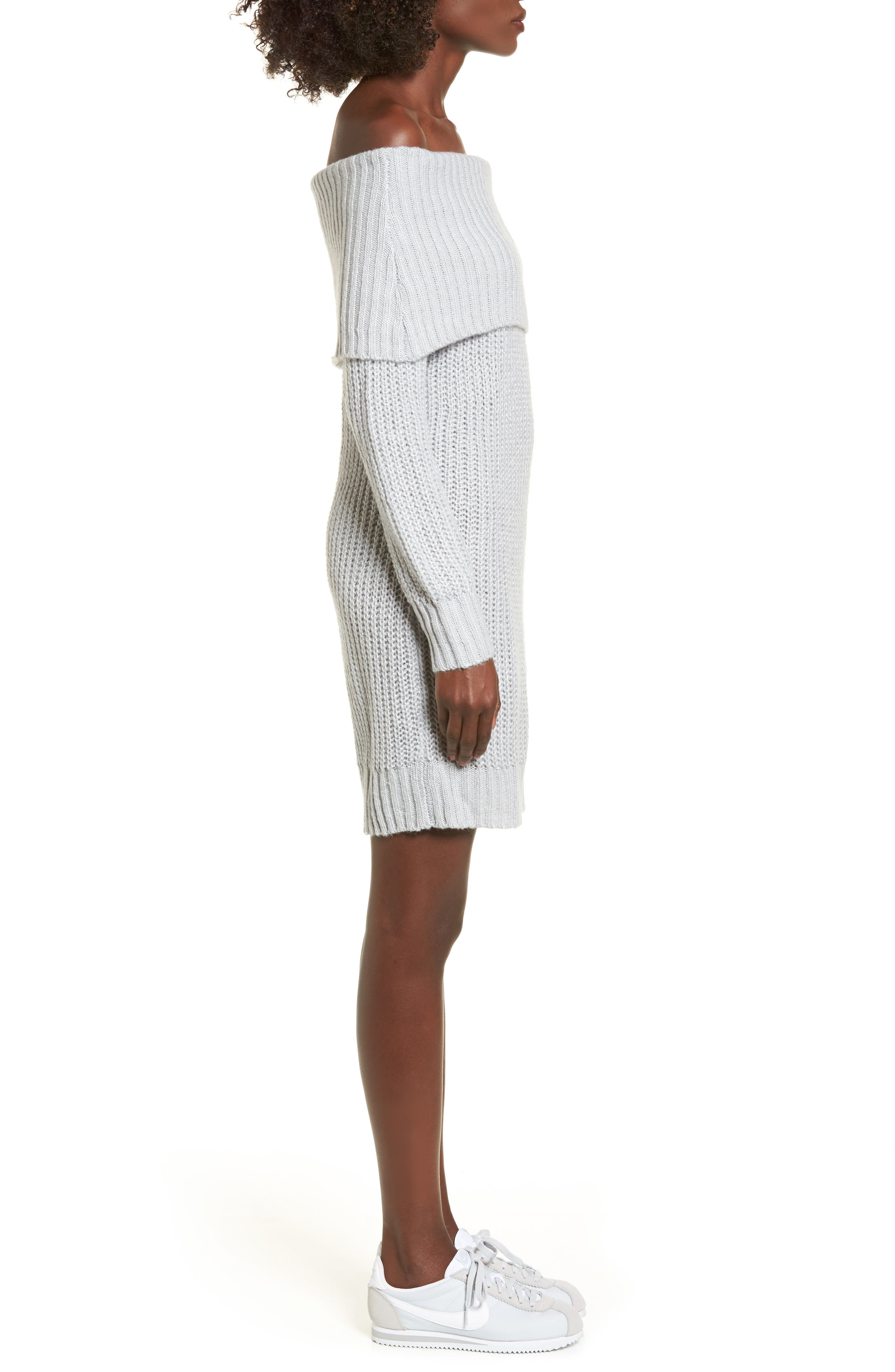 Foldover Off the Shoulder Sweater Dress,                             Alternate thumbnail 10, color,