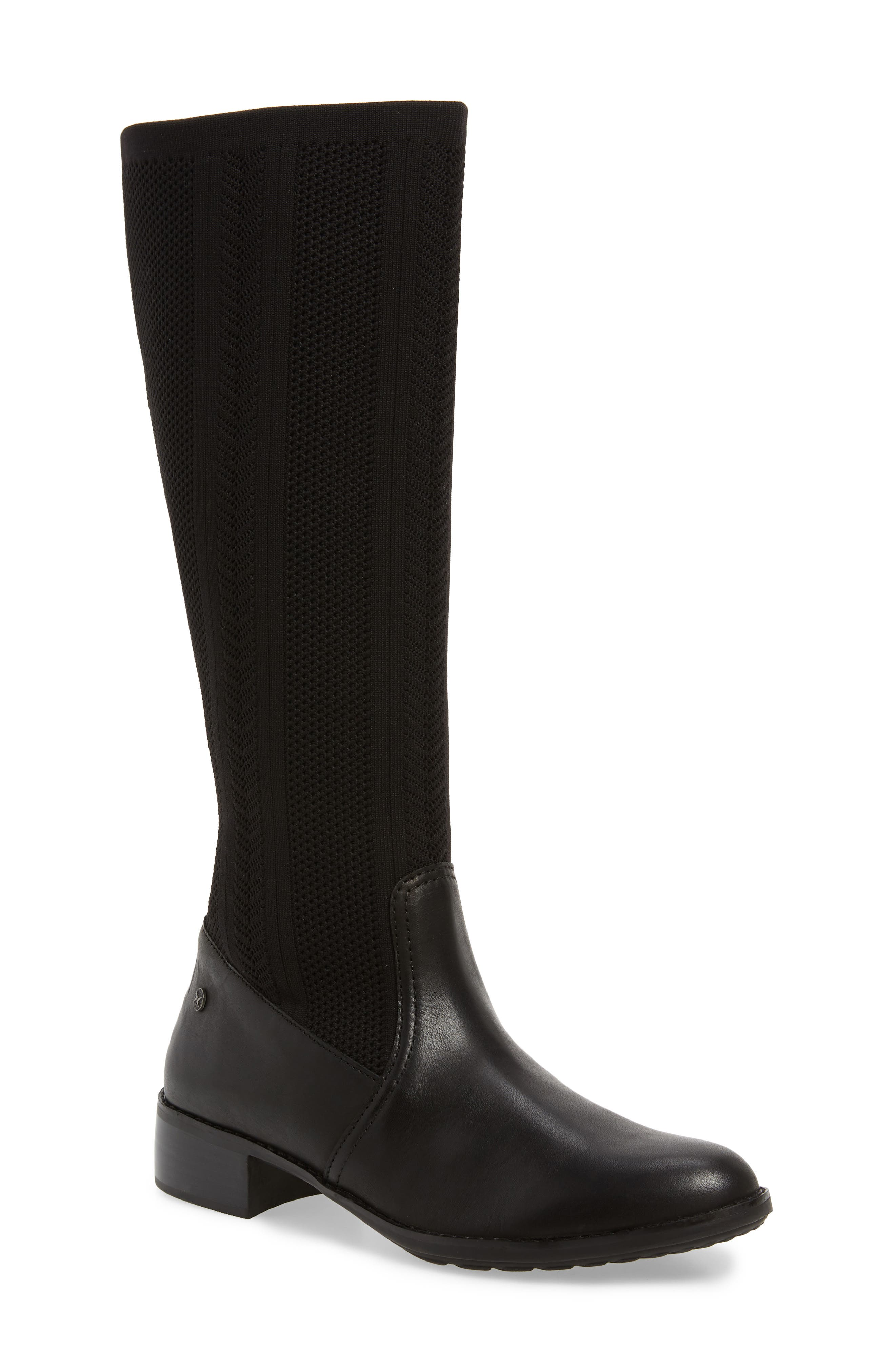 Belle Sock Knit Shaft Boot, Main, color, BLACK LEATHER