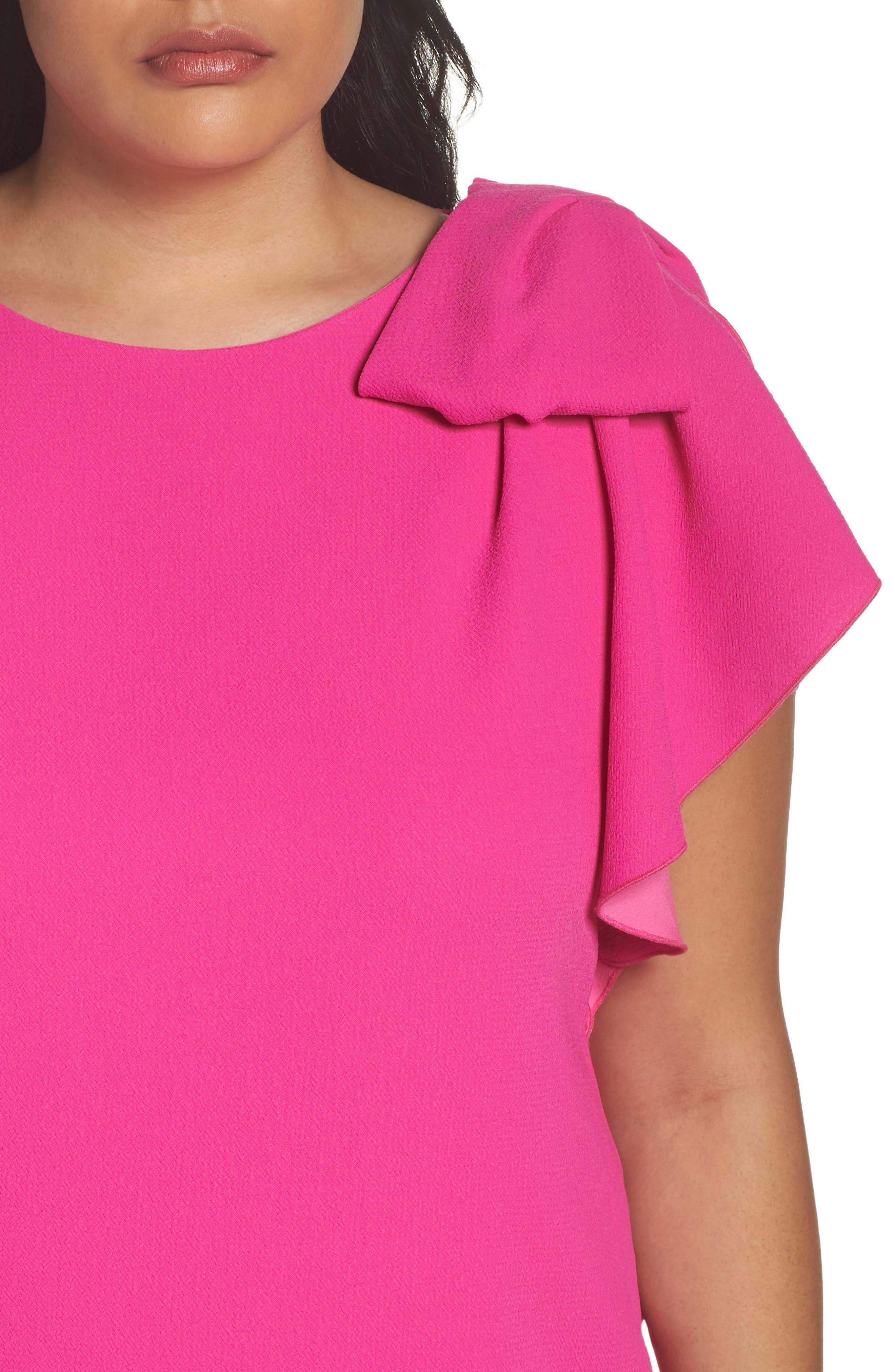Shoulder Bow Shift Dress,                             Alternate thumbnail 4, color,                             650