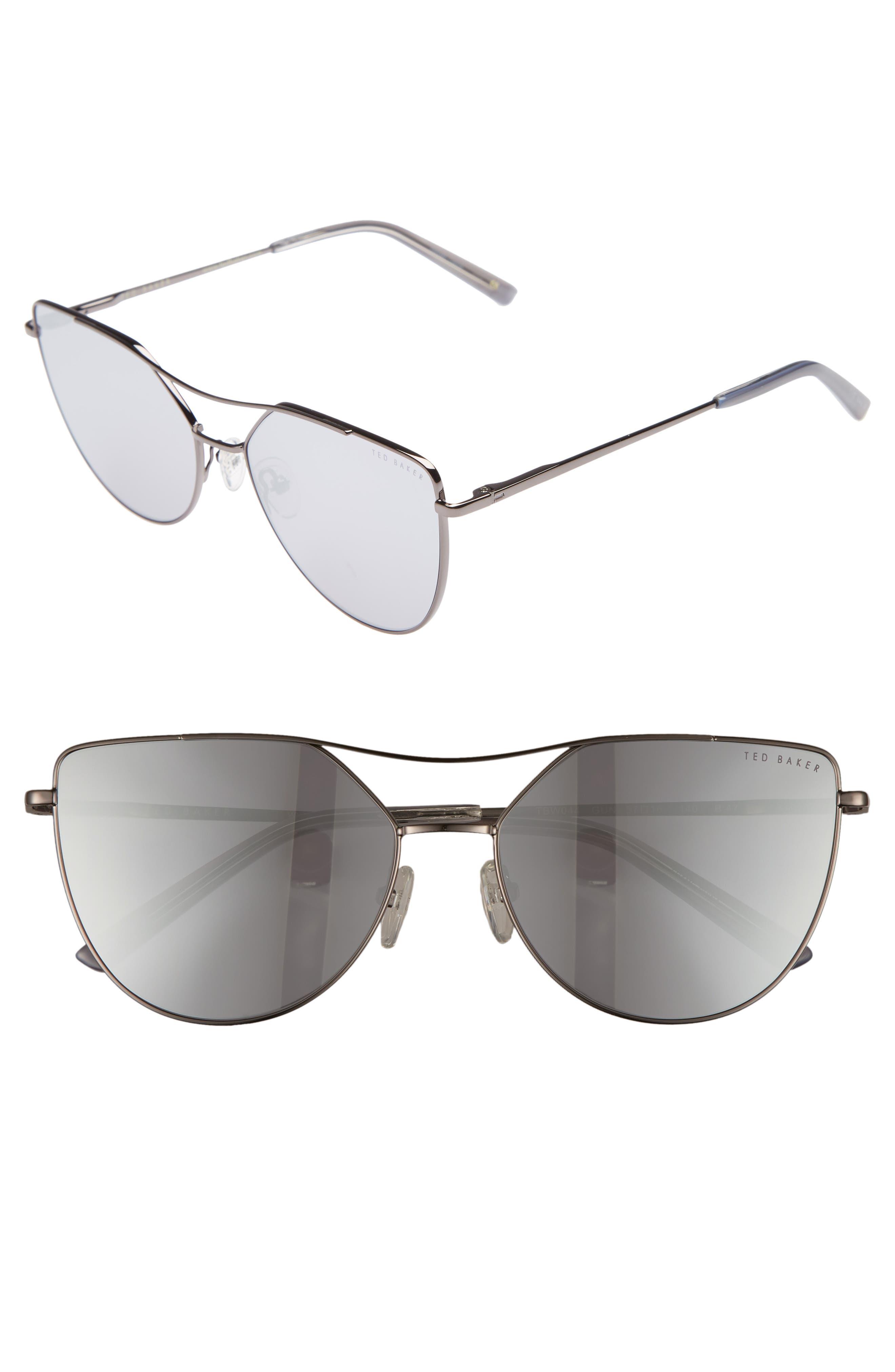 57mm Geometric Aviator Sunglasses,                             Main thumbnail 1, color,                             GUN METAL
