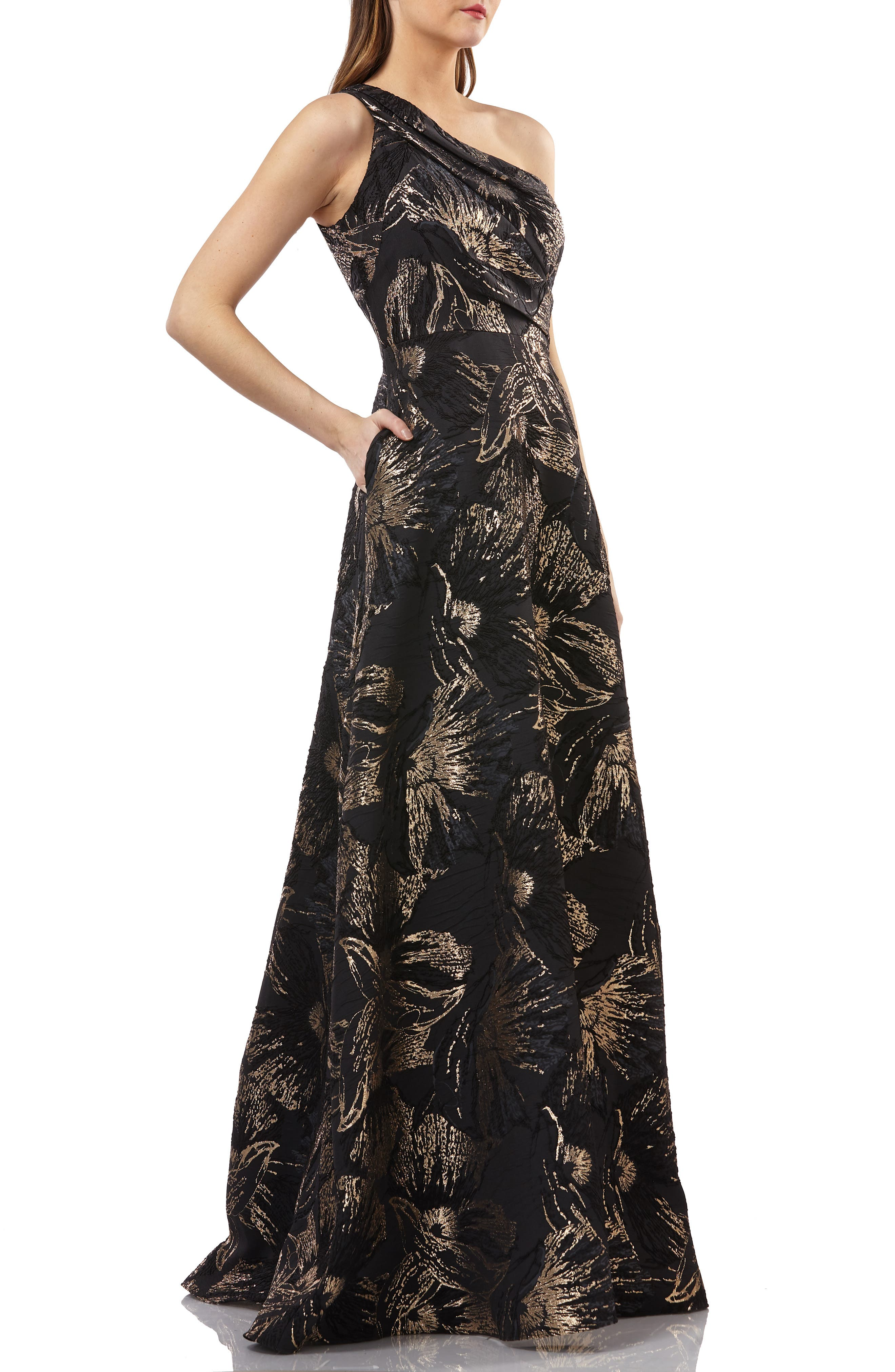 One-Shoulder Pleated Brocade Ballgown,                             Alternate thumbnail 3, color,                             BLACK/ GOLD