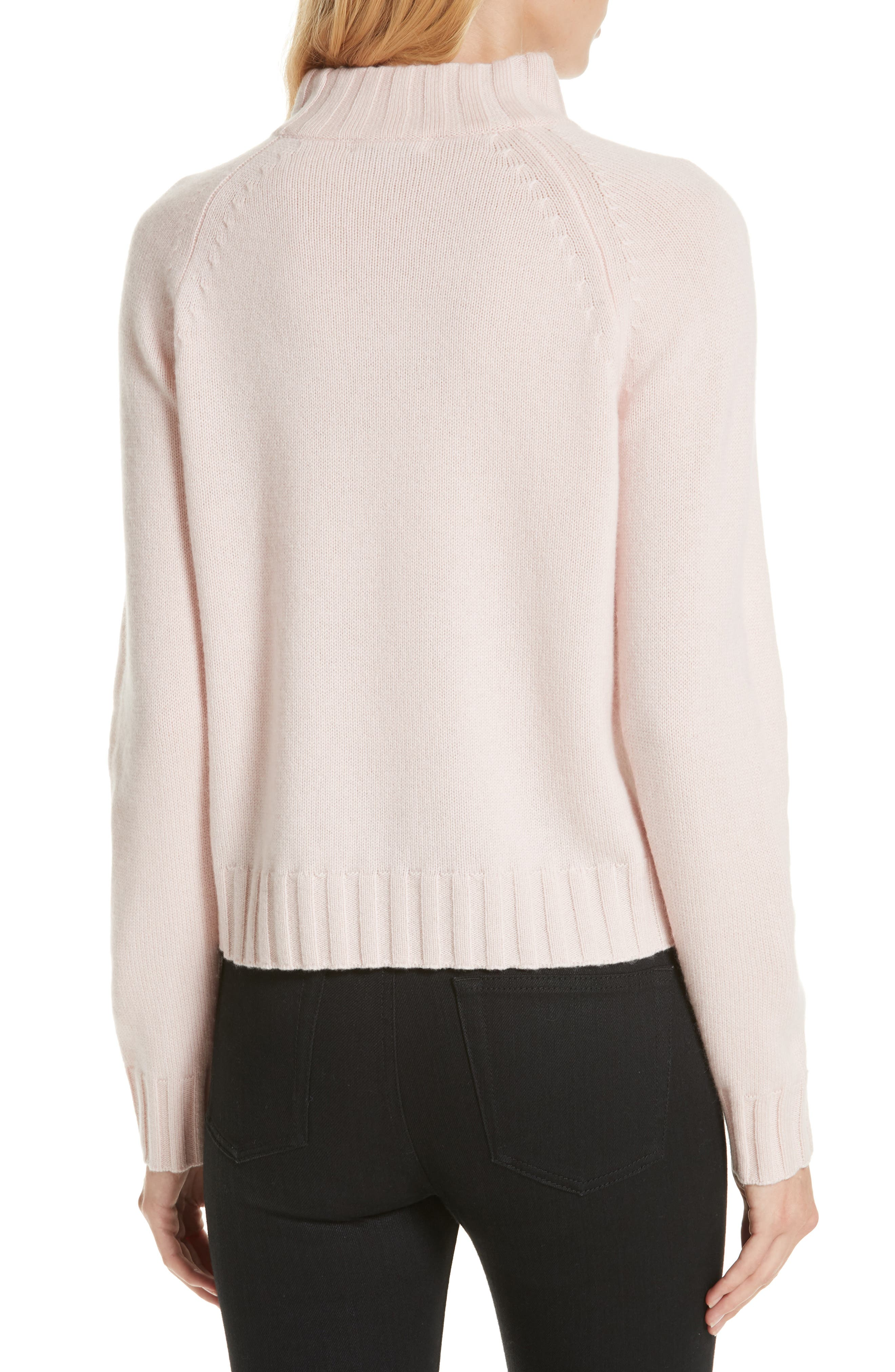 Cutout Detail Mock Neck Wool Cashmere Sweater,                             Alternate thumbnail 2, color,                             CHARM PINK
