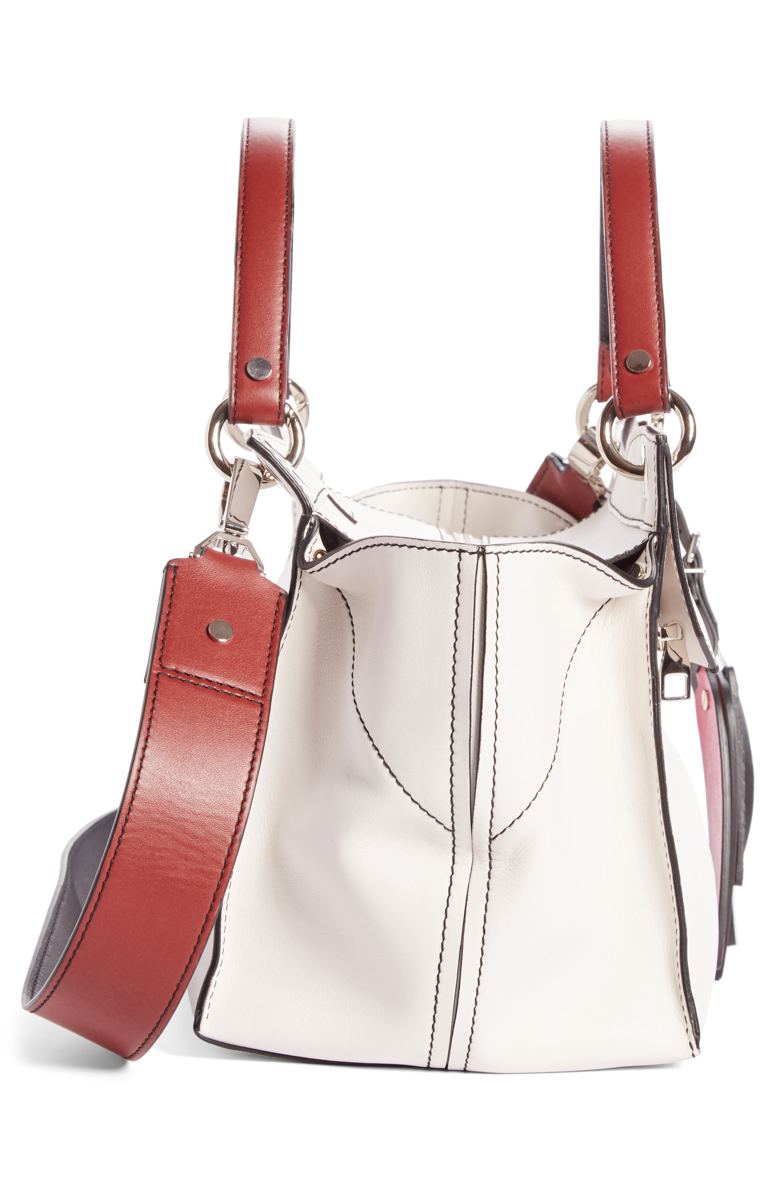Curl Leather Shoulder Bag,                             Alternate thumbnail 4, color,