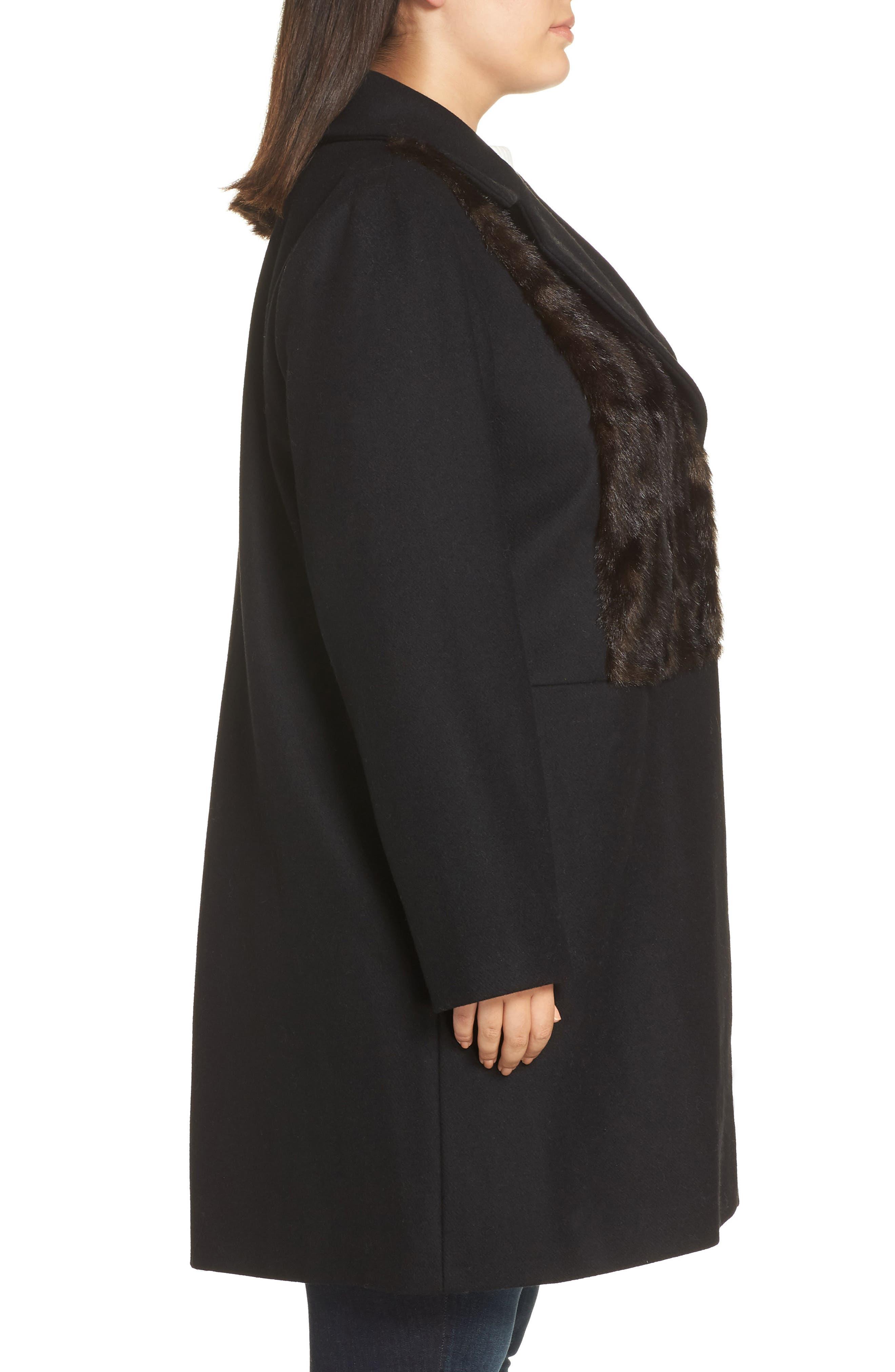 Faux Fur Panel Wool Blend Coat,                             Alternate thumbnail 3, color,                             BLACK