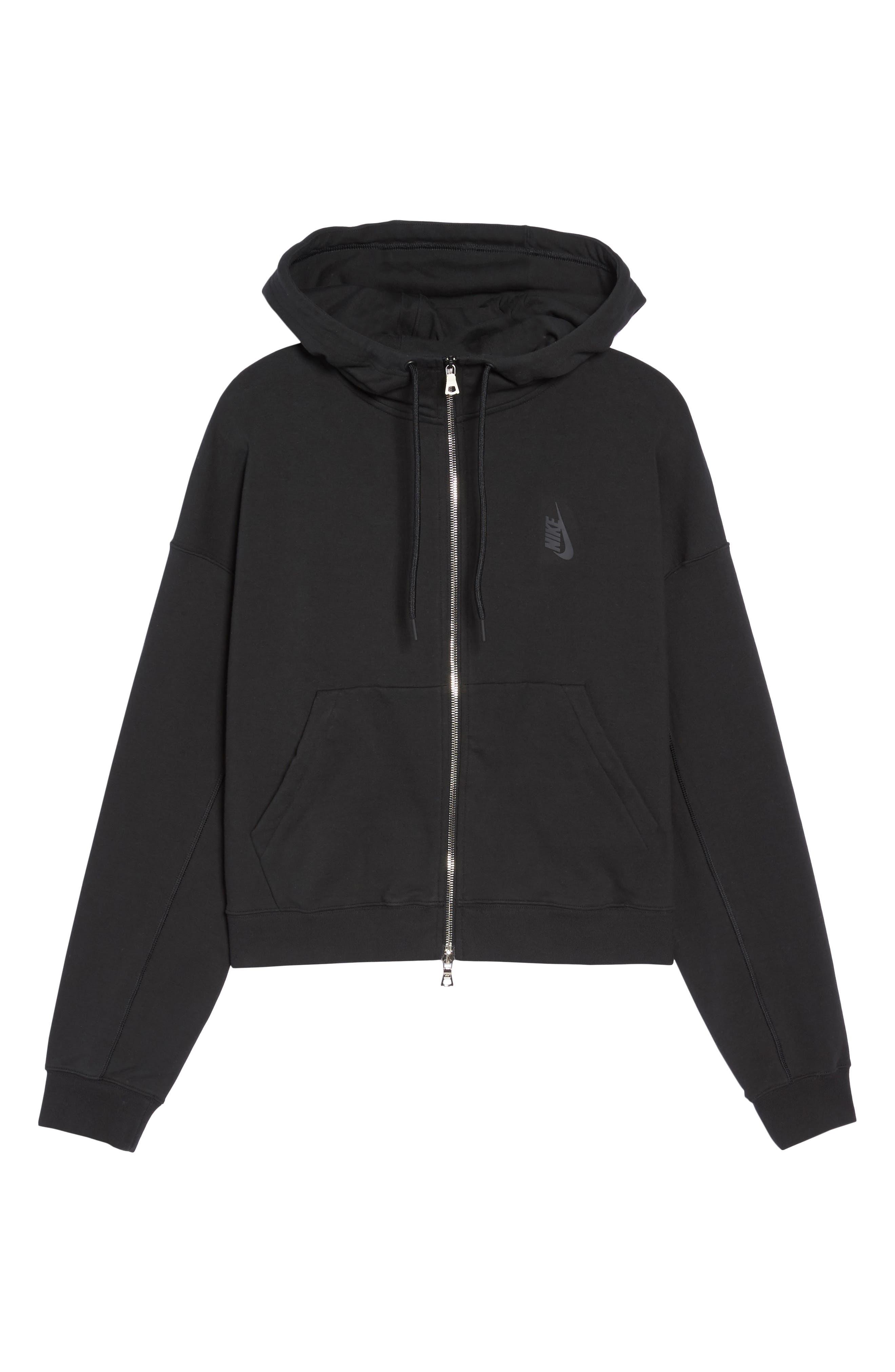 NikeLab Essentials Women's Zip Hoodie,                             Alternate thumbnail 7, color,                             BLACK/ BLACK