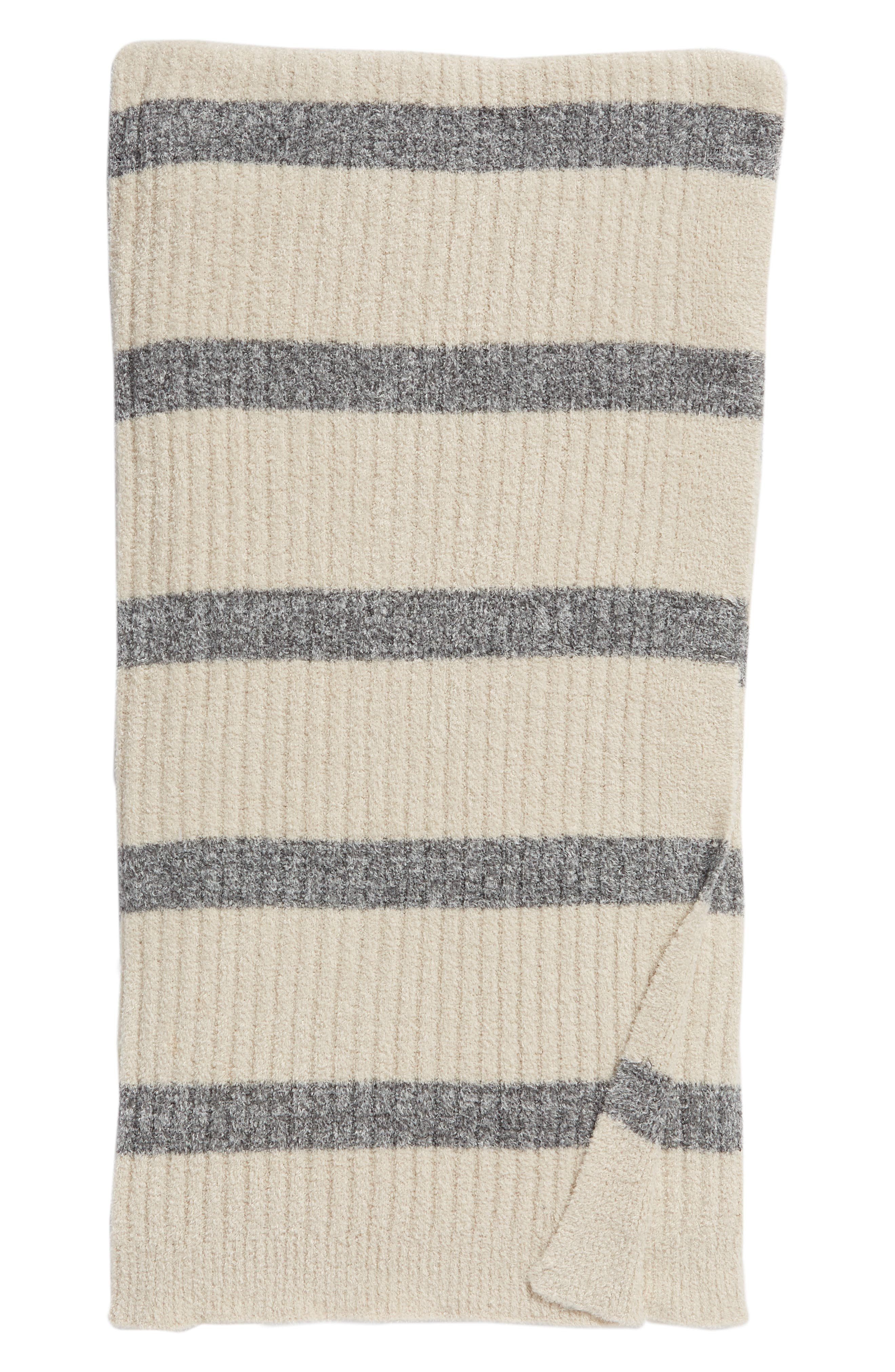 CozyChic Lite<sup>®</sup> Stripe Throw Blanket,                             Main thumbnail 1, color,                             BISQUE/ GRAPHITE