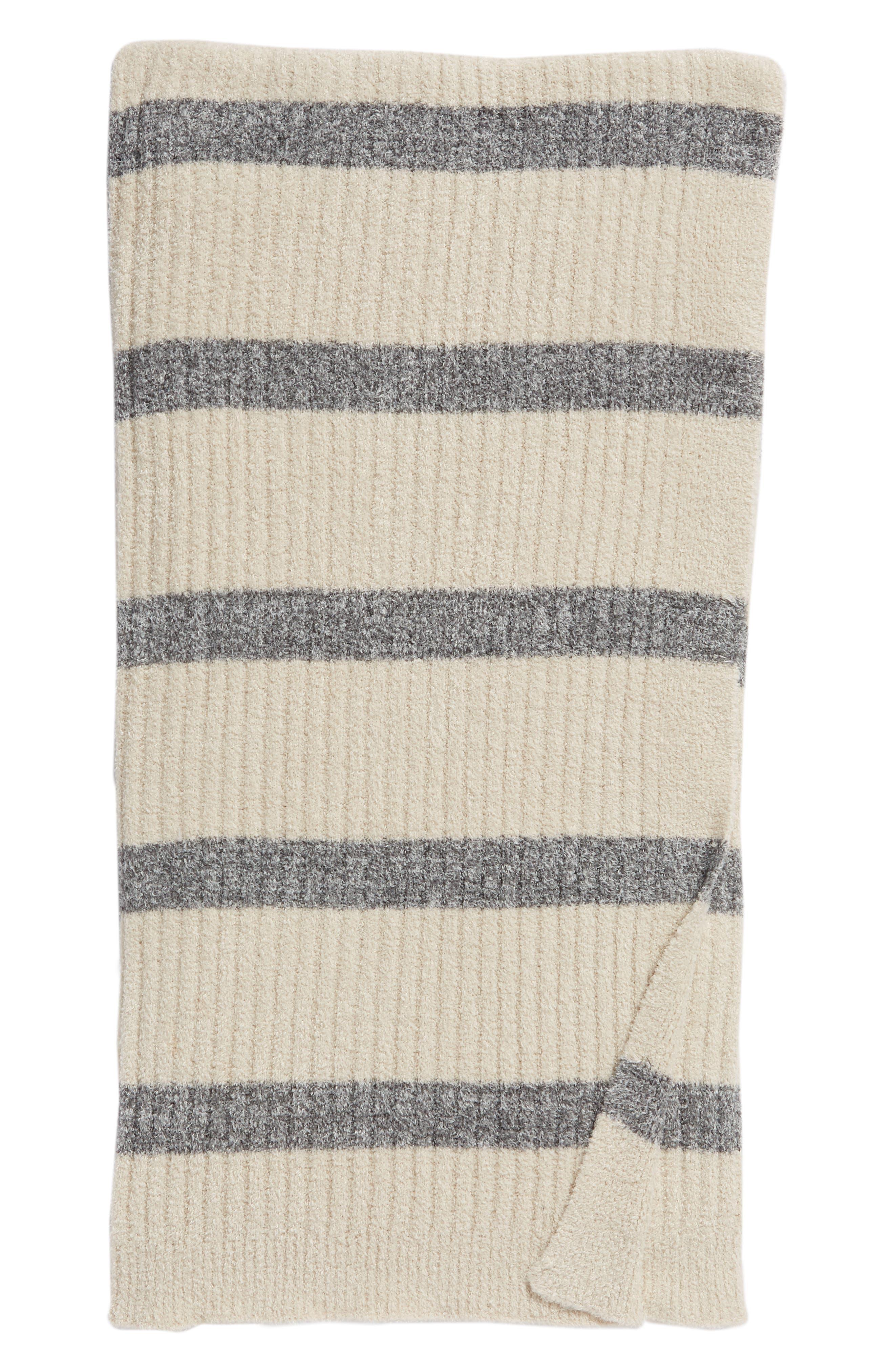 CozyChic Lite<sup>®</sup> Stripe Throw Blanket,                         Main,                         color, BISQUE/ GRAPHITE