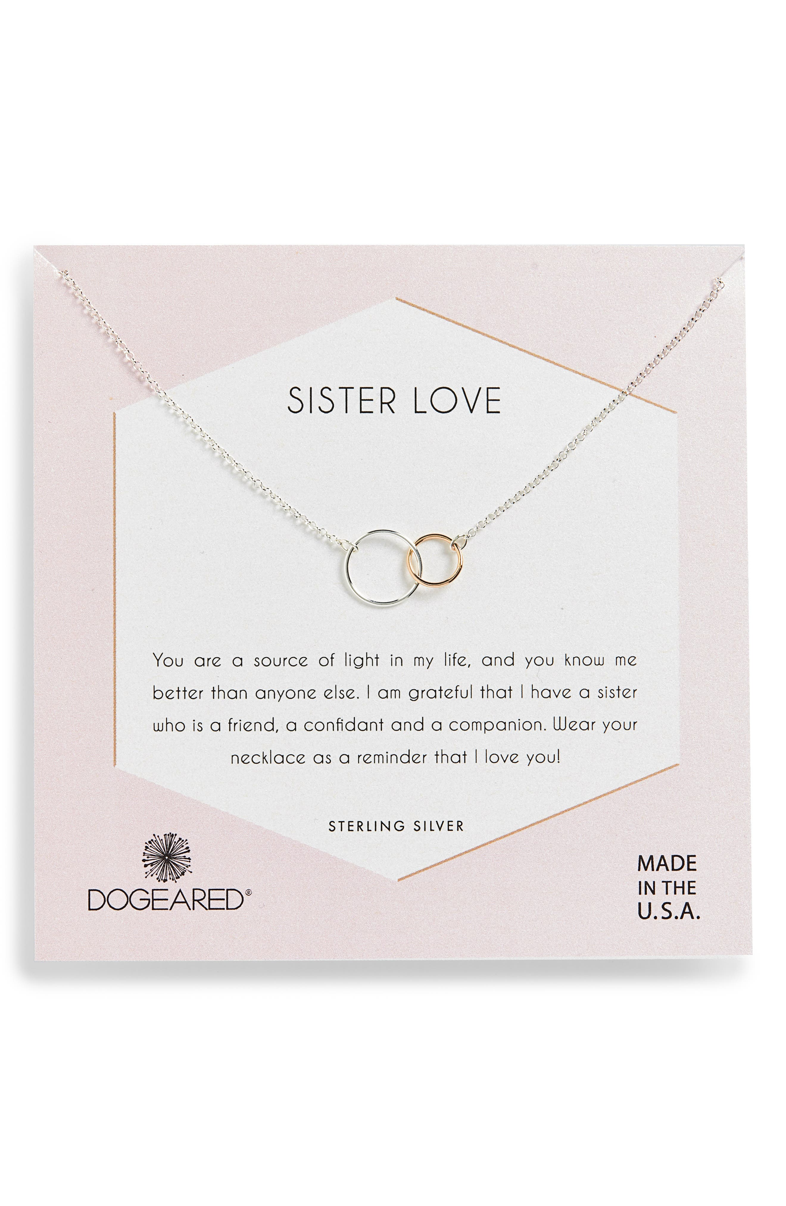 DOGEARED Sister Love Two-Tone Necklace in Silver