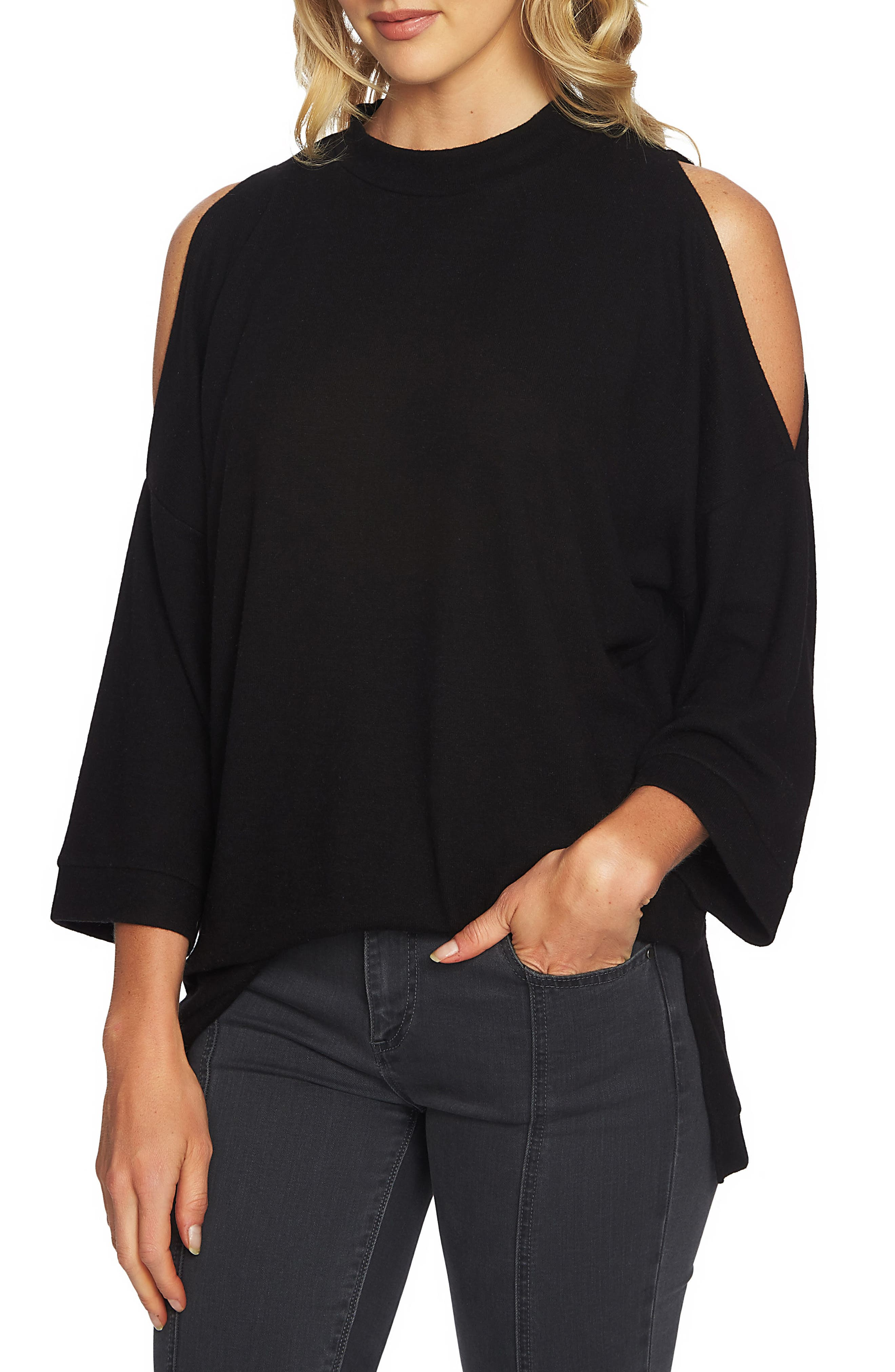 Cozy Slit Sleeve Top,                             Alternate thumbnail 3, color,                             010