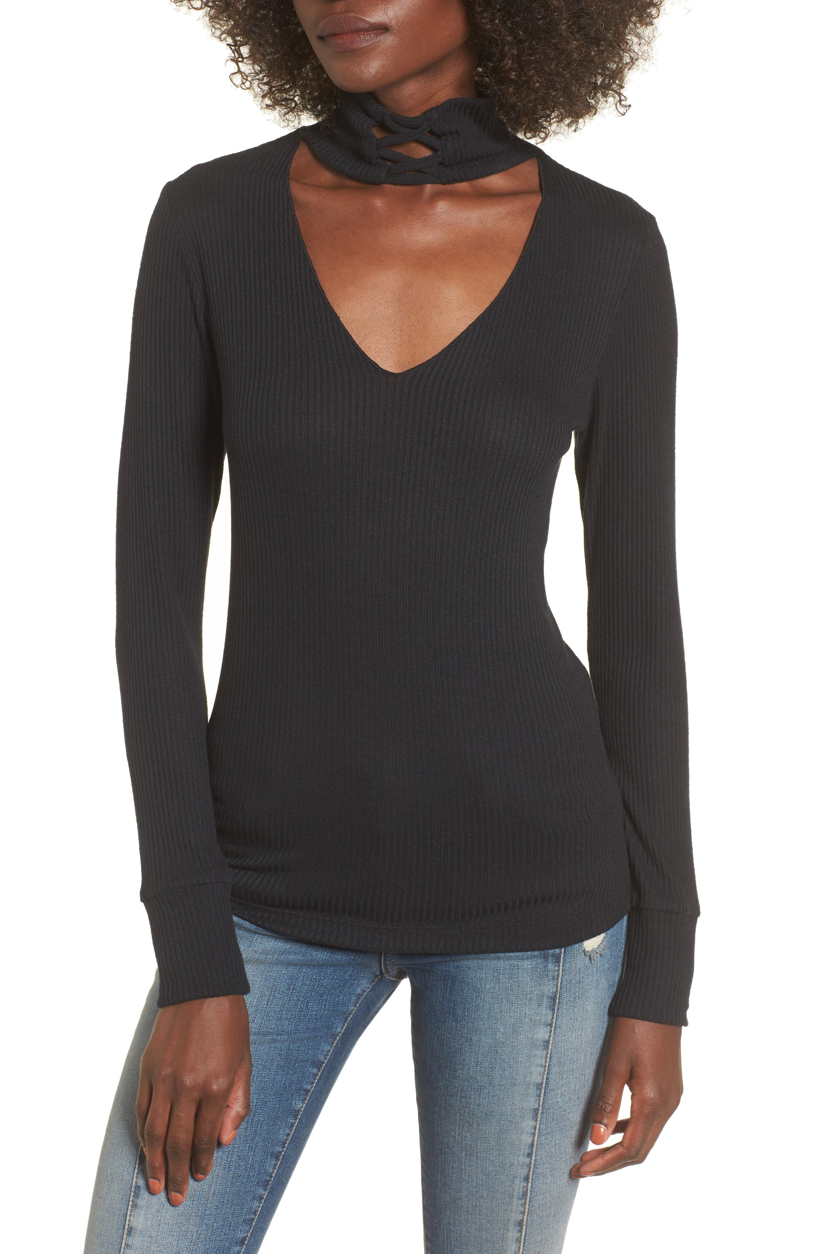 Lace-Up Turtleneck Top,                             Main thumbnail 1, color,