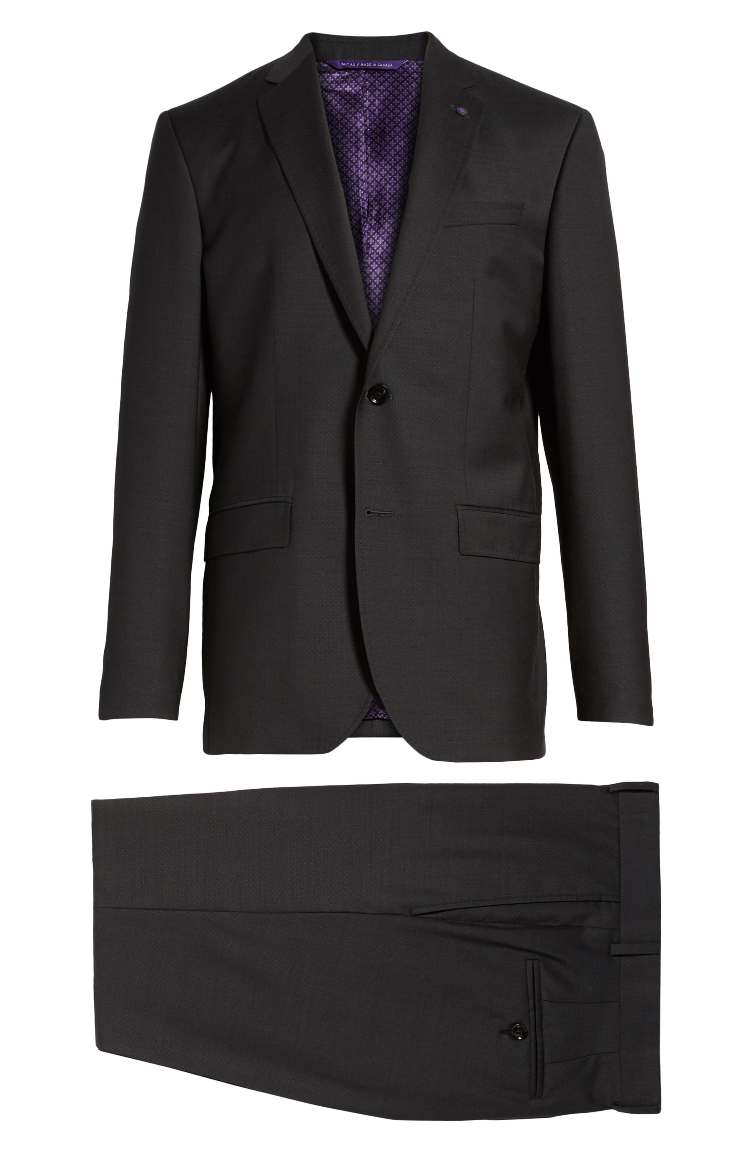 Jay Trim Fit Solid Wool Suit,                             Alternate thumbnail 8, color,                             001