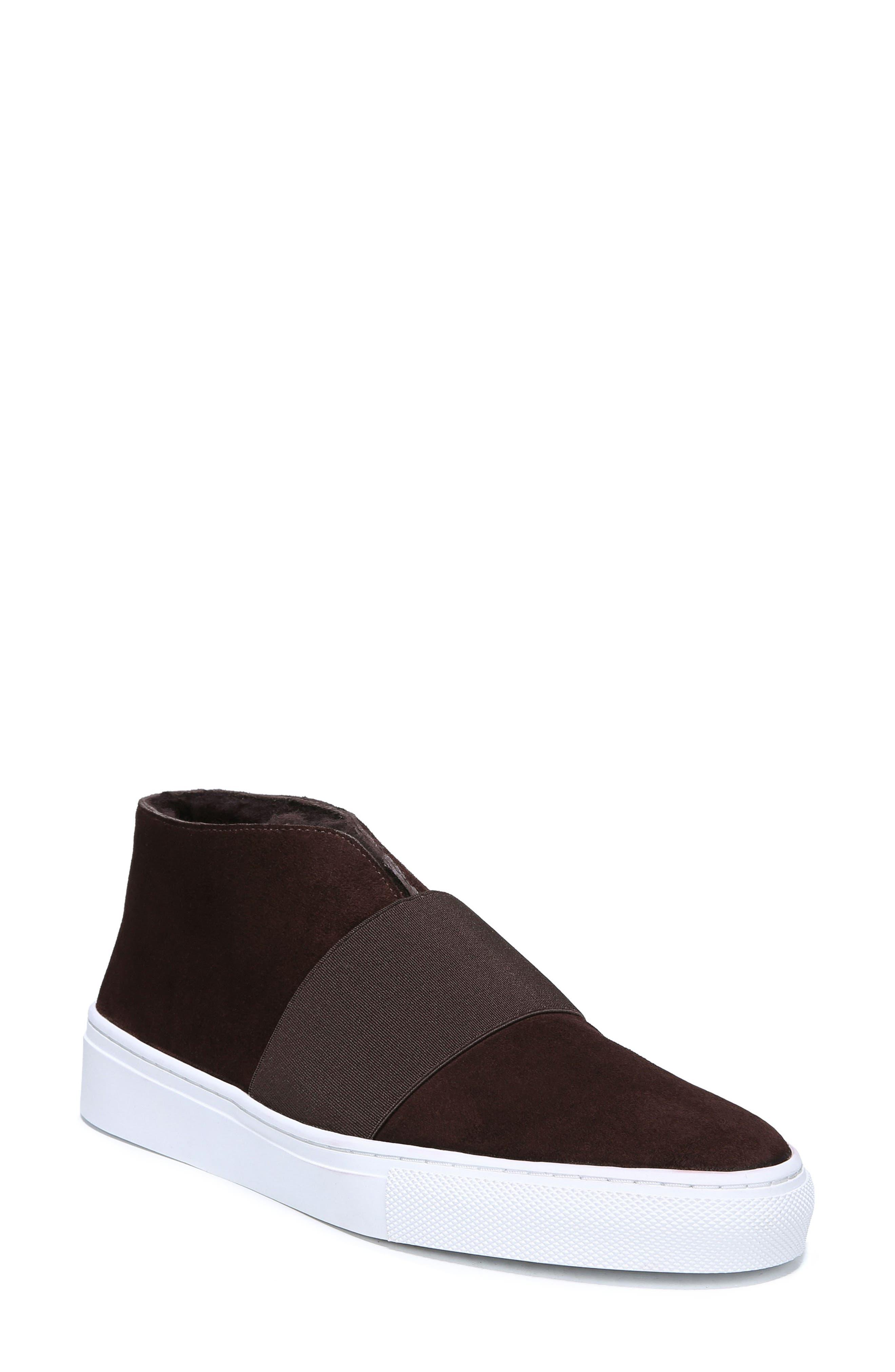 VIA SPIGA Sayer Genuine Shearling Slip-On Sneaker in Port