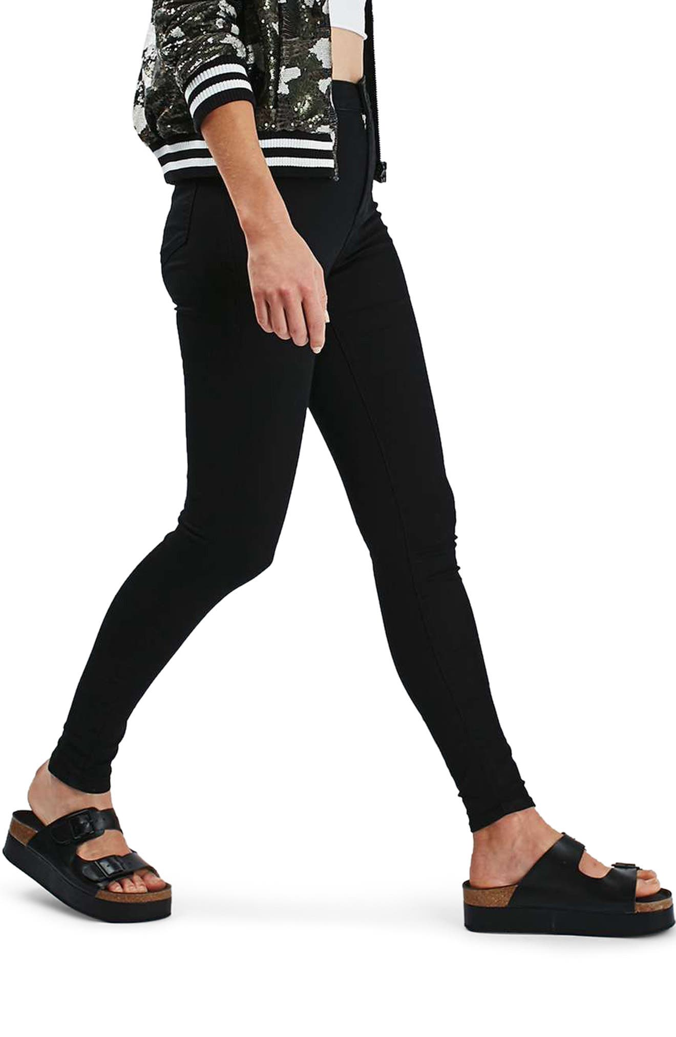 Joni High Waist Skinny Jeans,                             Alternate thumbnail 4, color,                             BLACK
