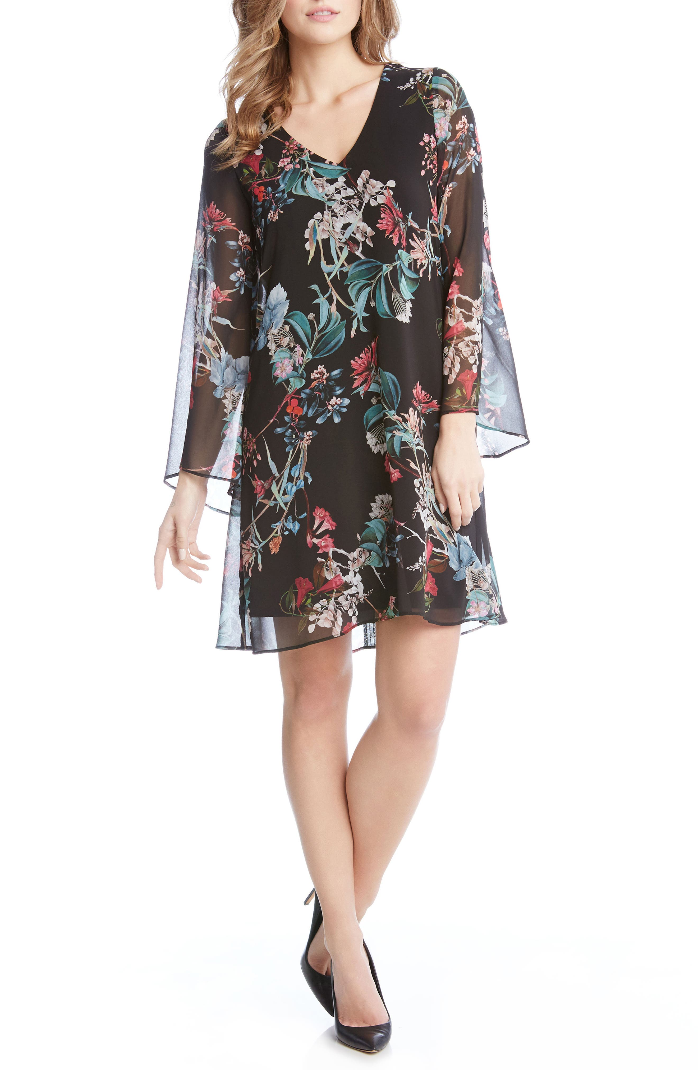 Bell Sleeve A-Line Dress,                             Main thumbnail 1, color,                             560