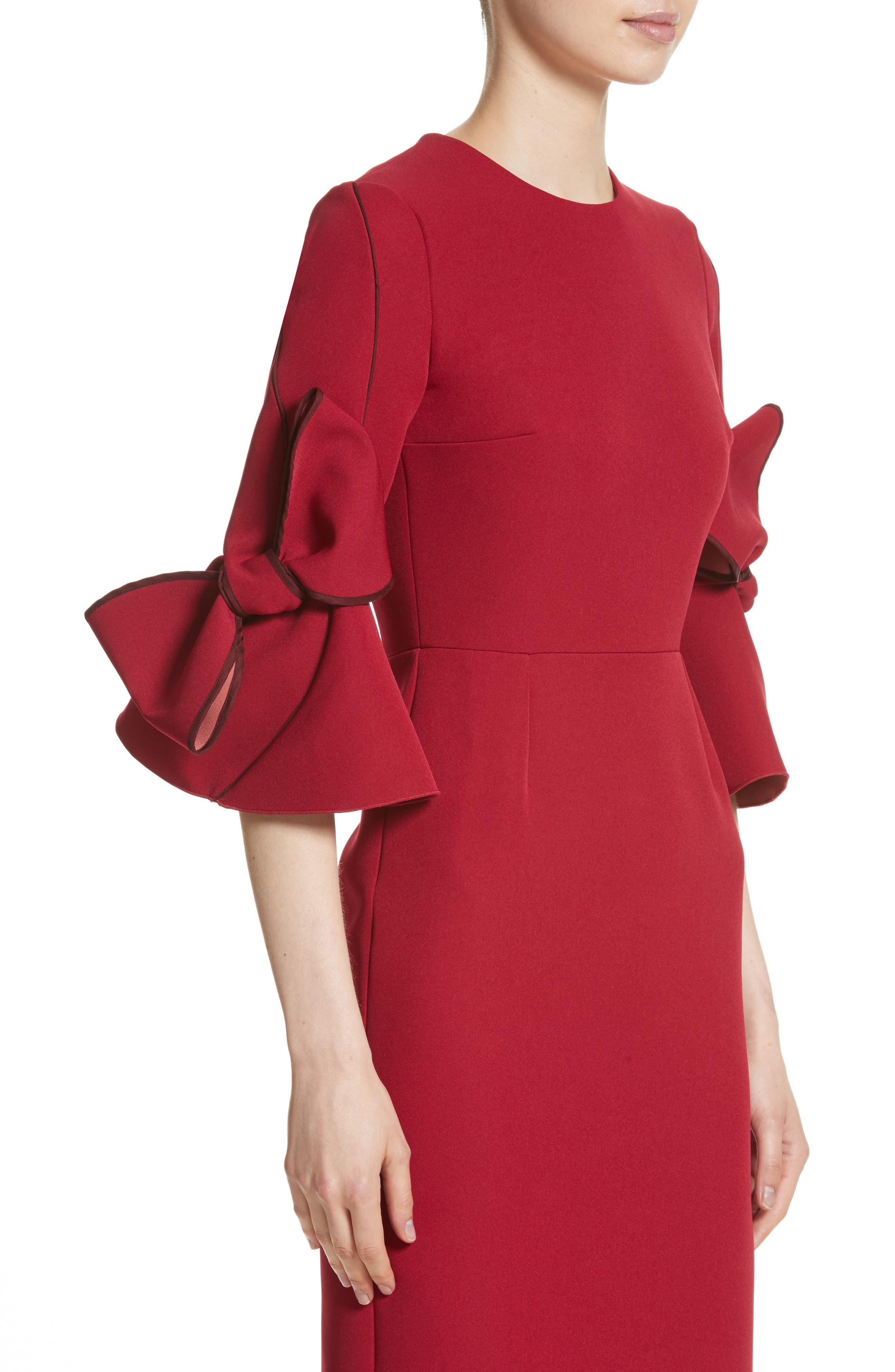 Lavete Bow Sleeve Crepe Dress,                             Alternate thumbnail 4, color,