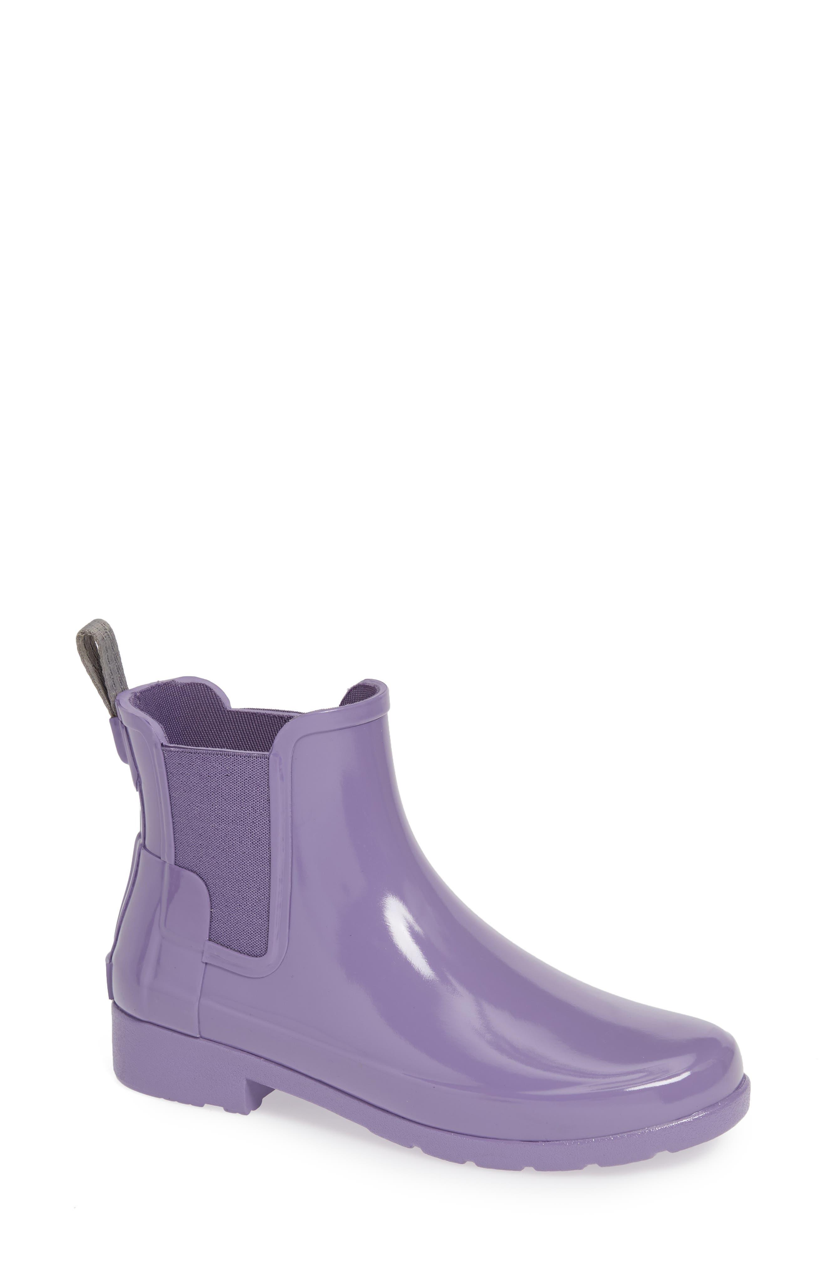 Hunter Original Refined Chelsea Waterproof Rain Boot, Purple