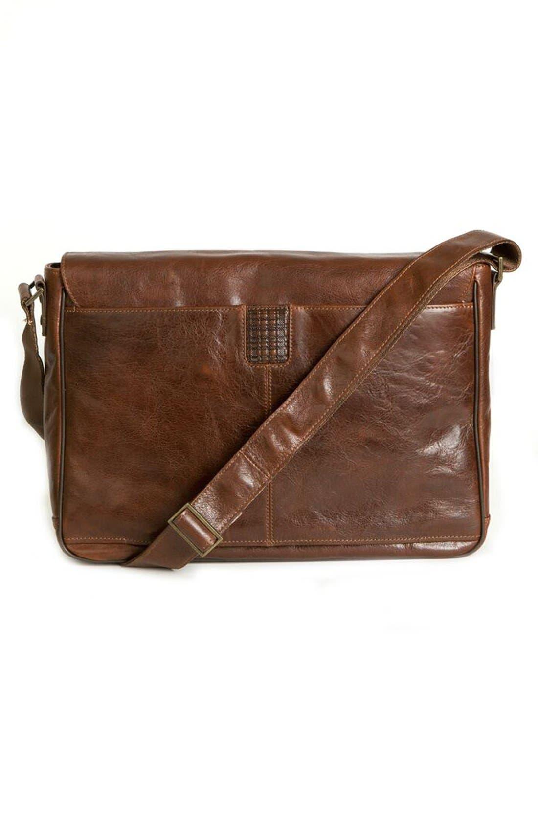 BOCONI,                             'Becker' Leather Messenger Bag,                             Alternate thumbnail 2, color,                             WHISKEY