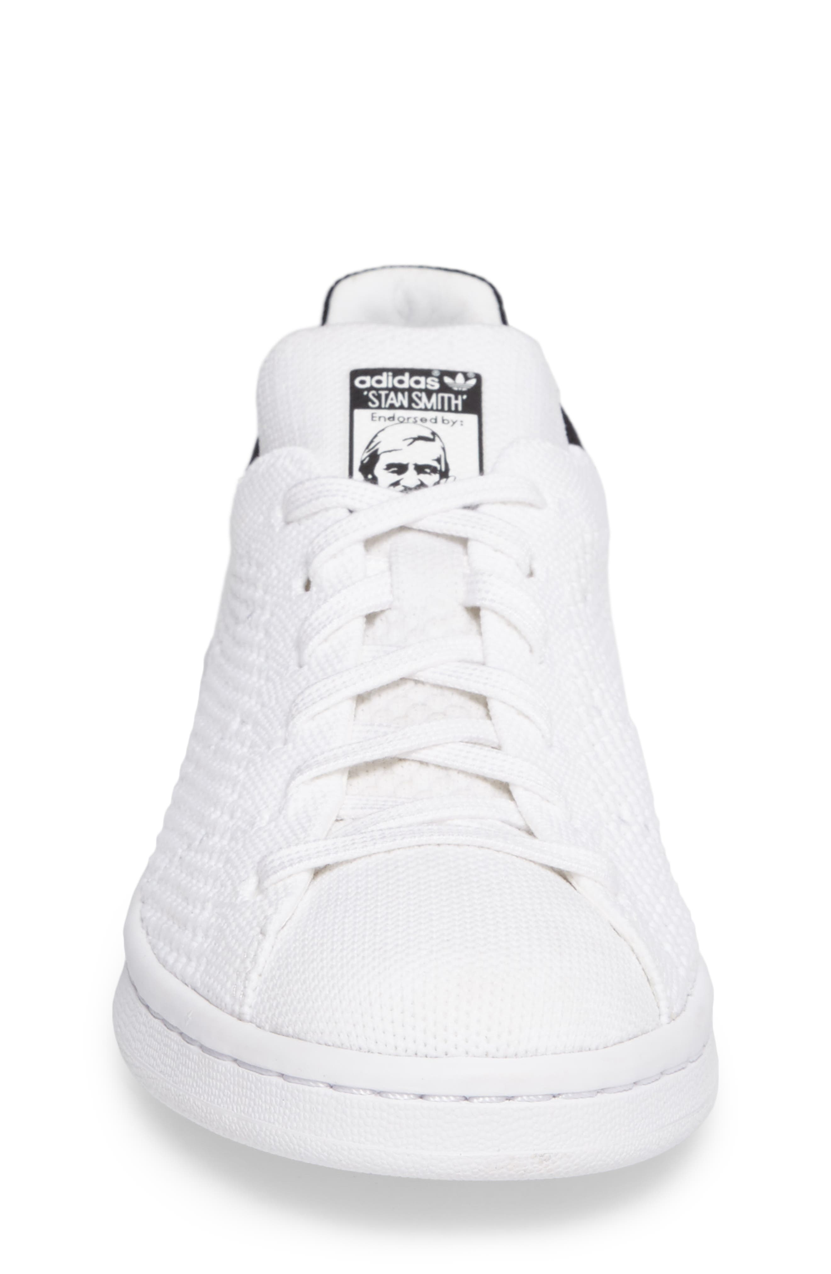Stan Smith Primeknit Sneaker,                             Alternate thumbnail 4, color,                             100