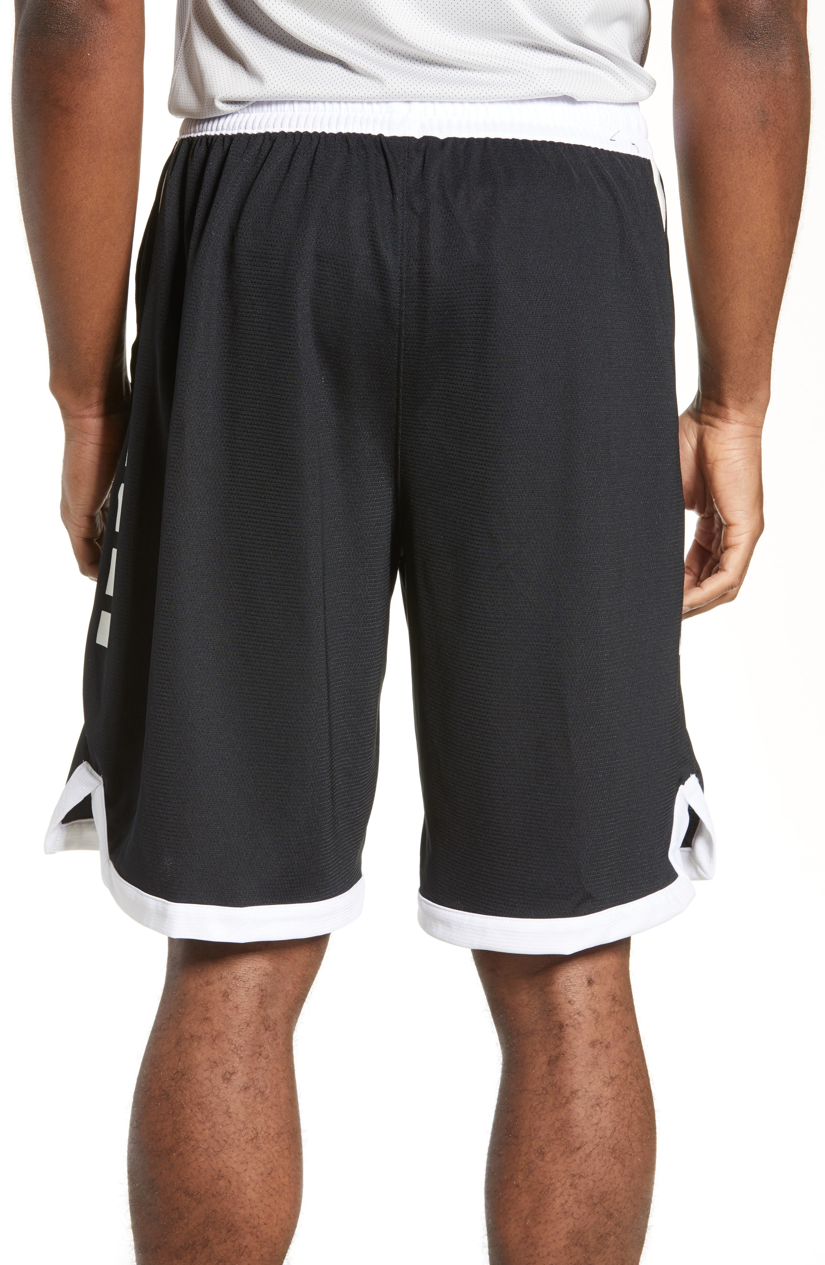 NIKE,                             Dry Elite Stripe Basketball Shorts,                             Alternate thumbnail 2, color,                             BLACK/ WHITE/ WHITE/ WHITE
