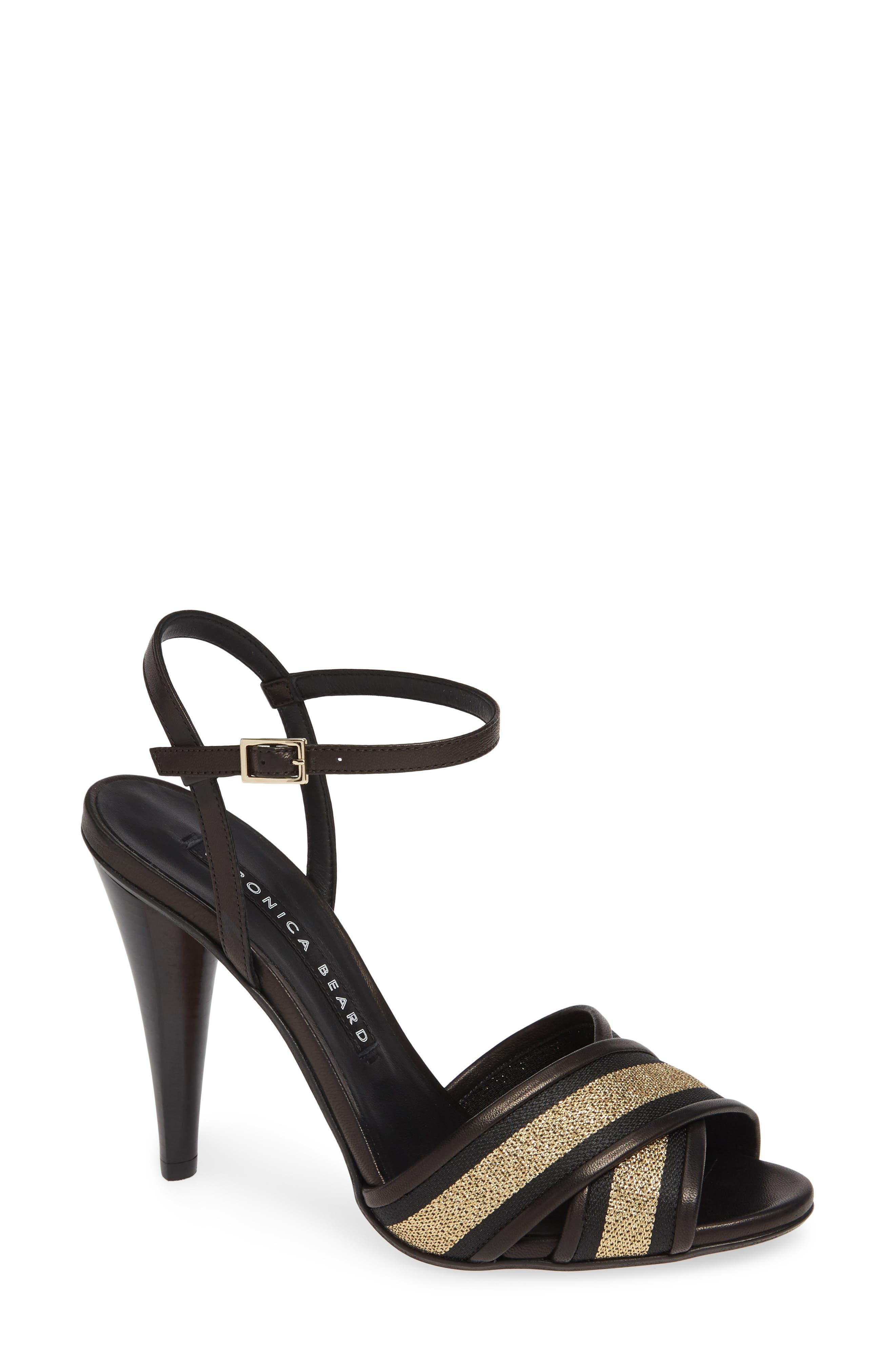 VERONICA BEARD,                             Olympia Quarter Strap Sandal,                             Main thumbnail 1, color,                             BLACK/ GOLD