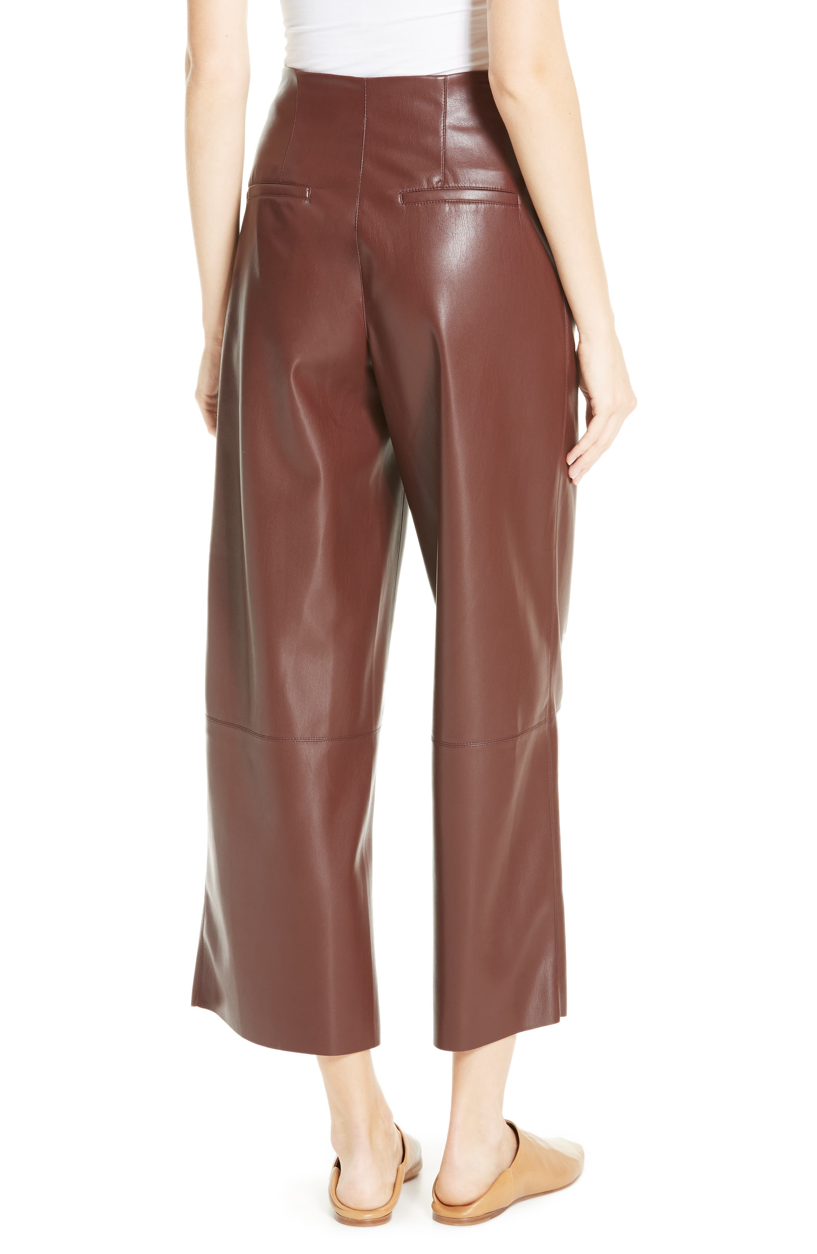 Africa Faux Leather Wide Leg Crop Pants,                             Alternate thumbnail 2, color,                             PLUM CHUTNEY