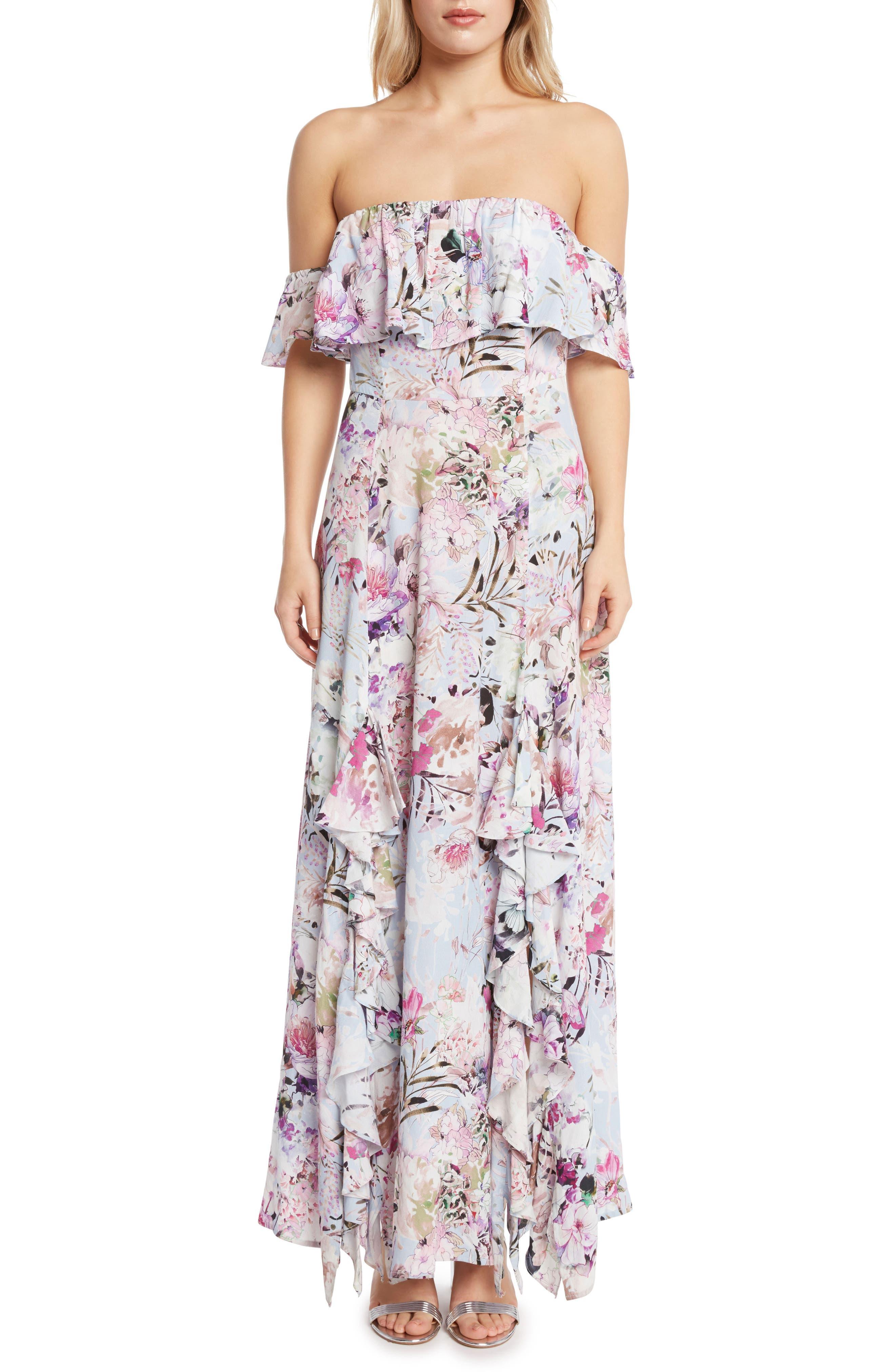 Floral Print Ruffle Maxi Dress,                         Main,                         color, 530