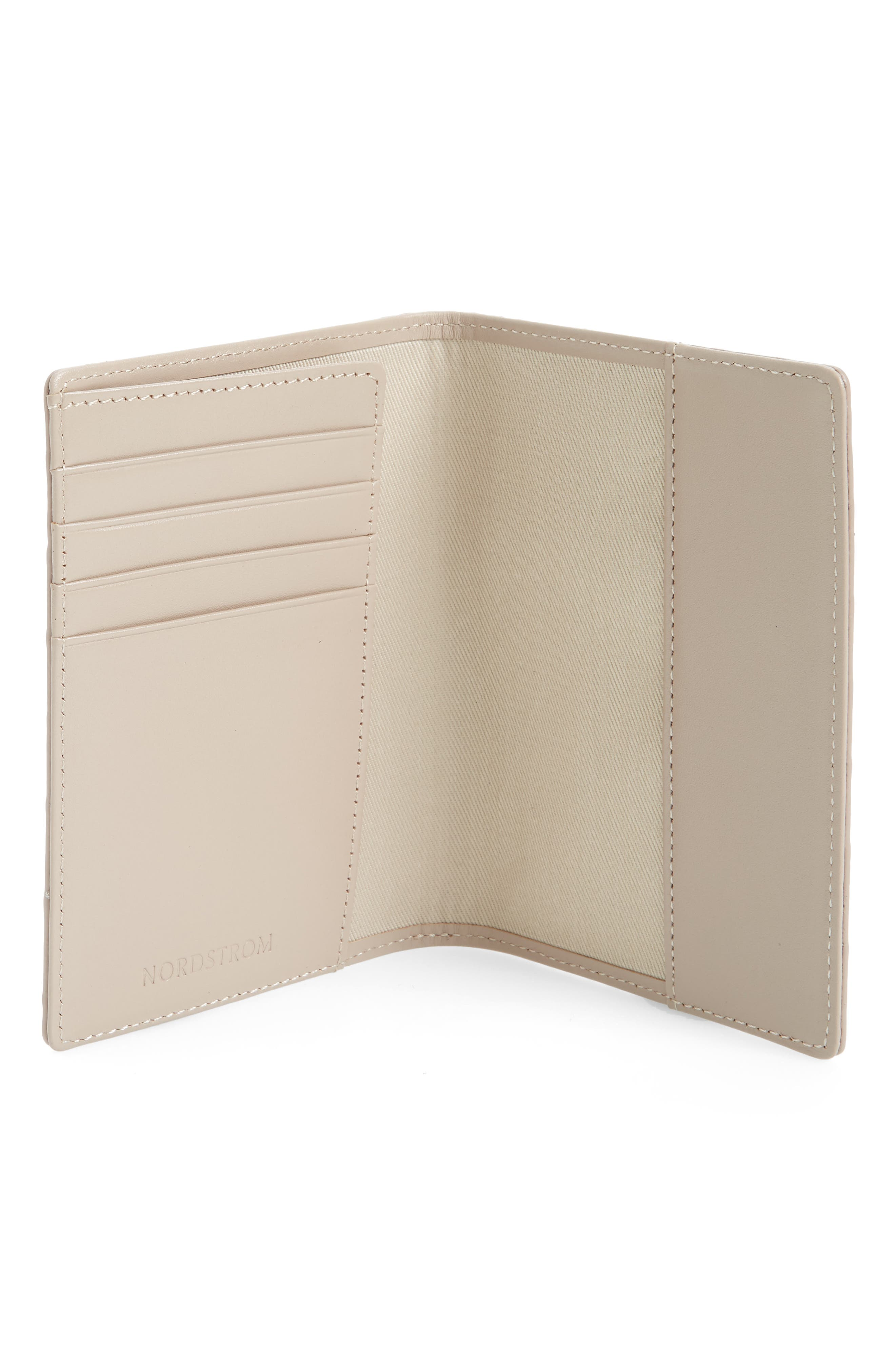 Croc Embossed Leather Passport Holder,                             Alternate thumbnail 2, color,                             GREY BARK