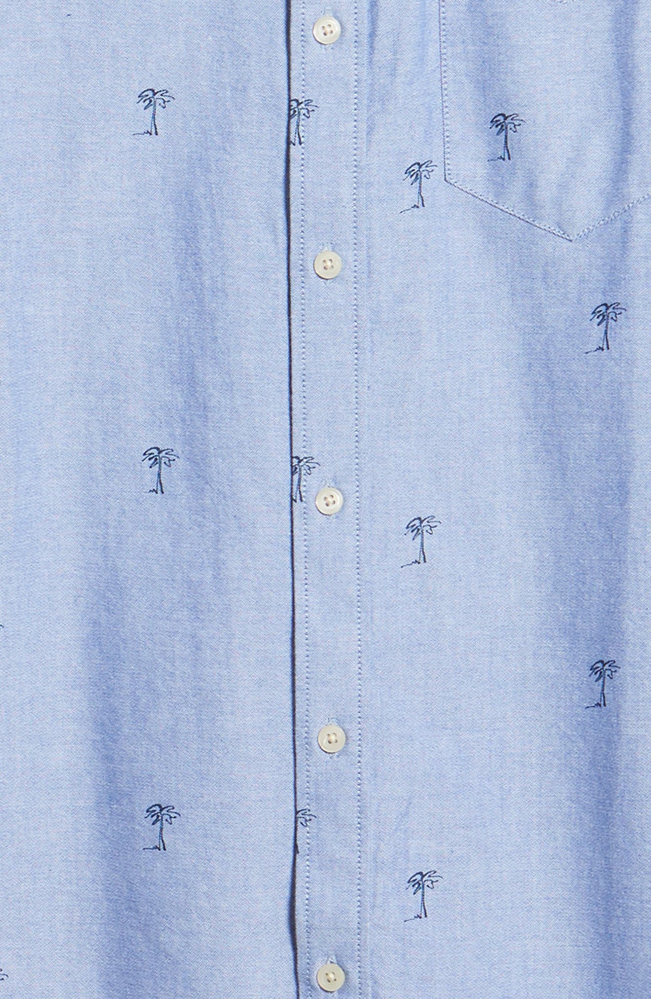 Houser Palm Tree Woven Shirt,                             Alternate thumbnail 6, color,                             MAZARINE BLUE
