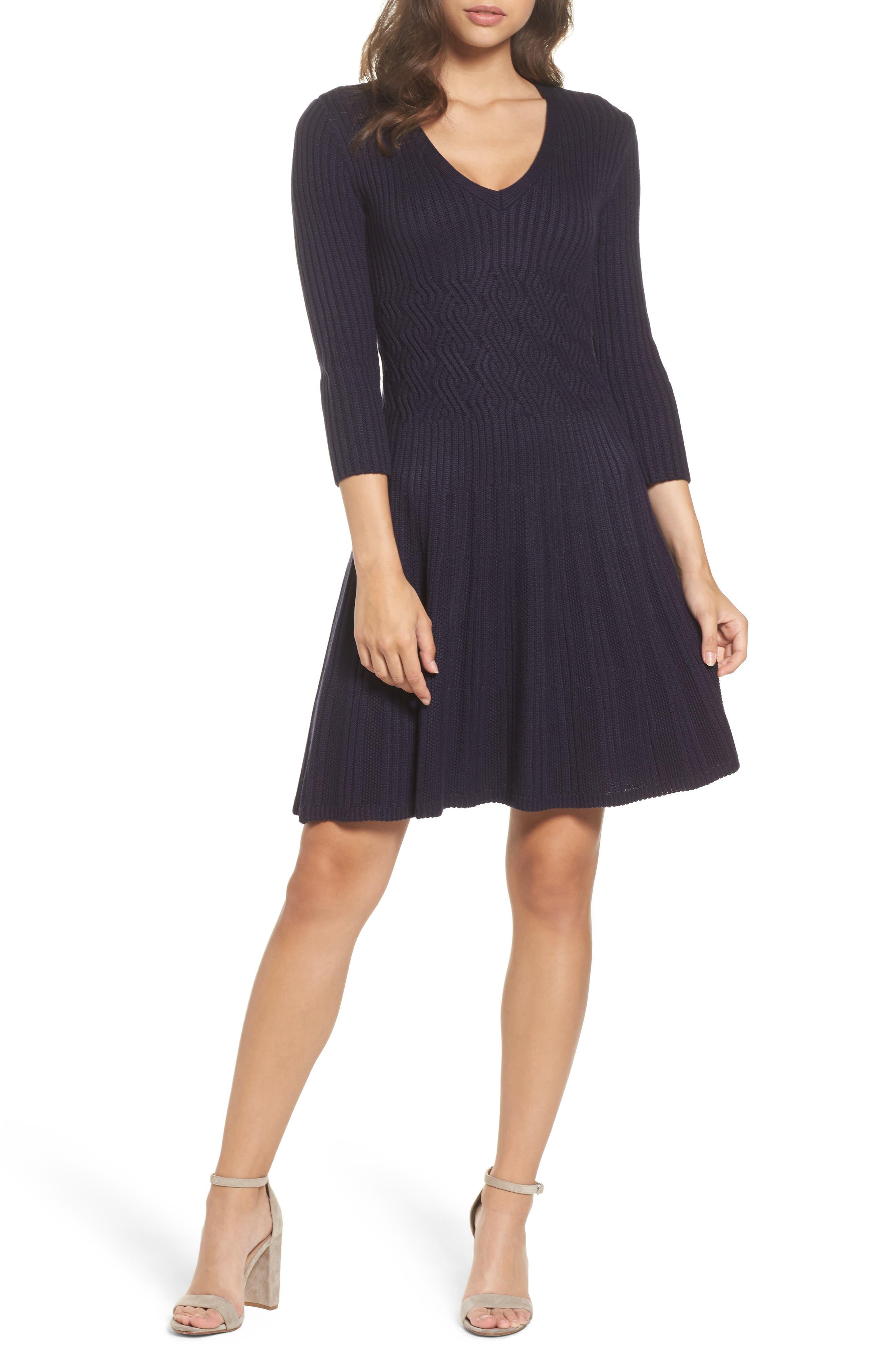 Ribbed Fit & Flare Dress,                             Main thumbnail 2, color,