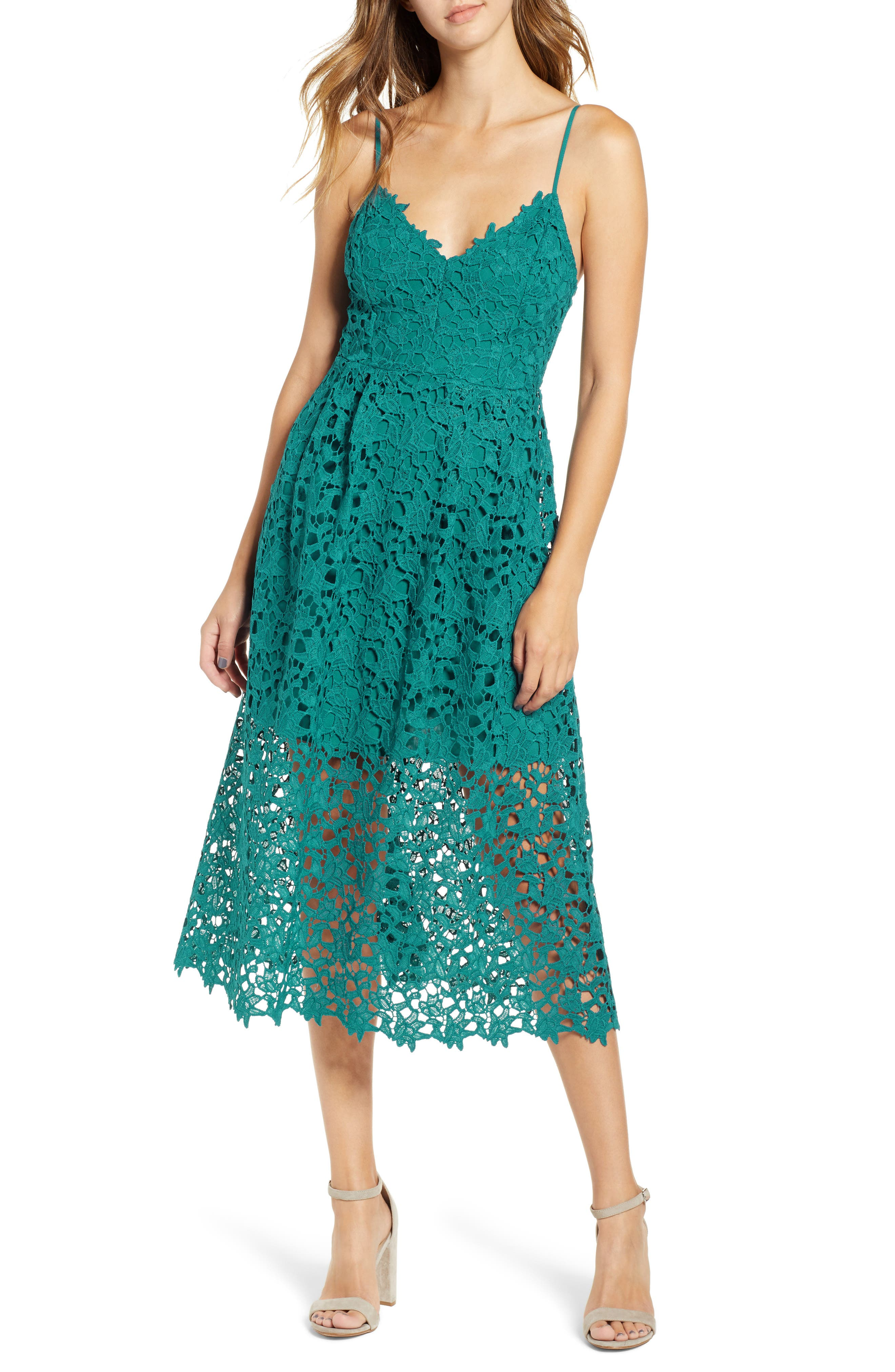 Lace Midi Dress,                             Main thumbnail 1, color,                             JADE GREEN