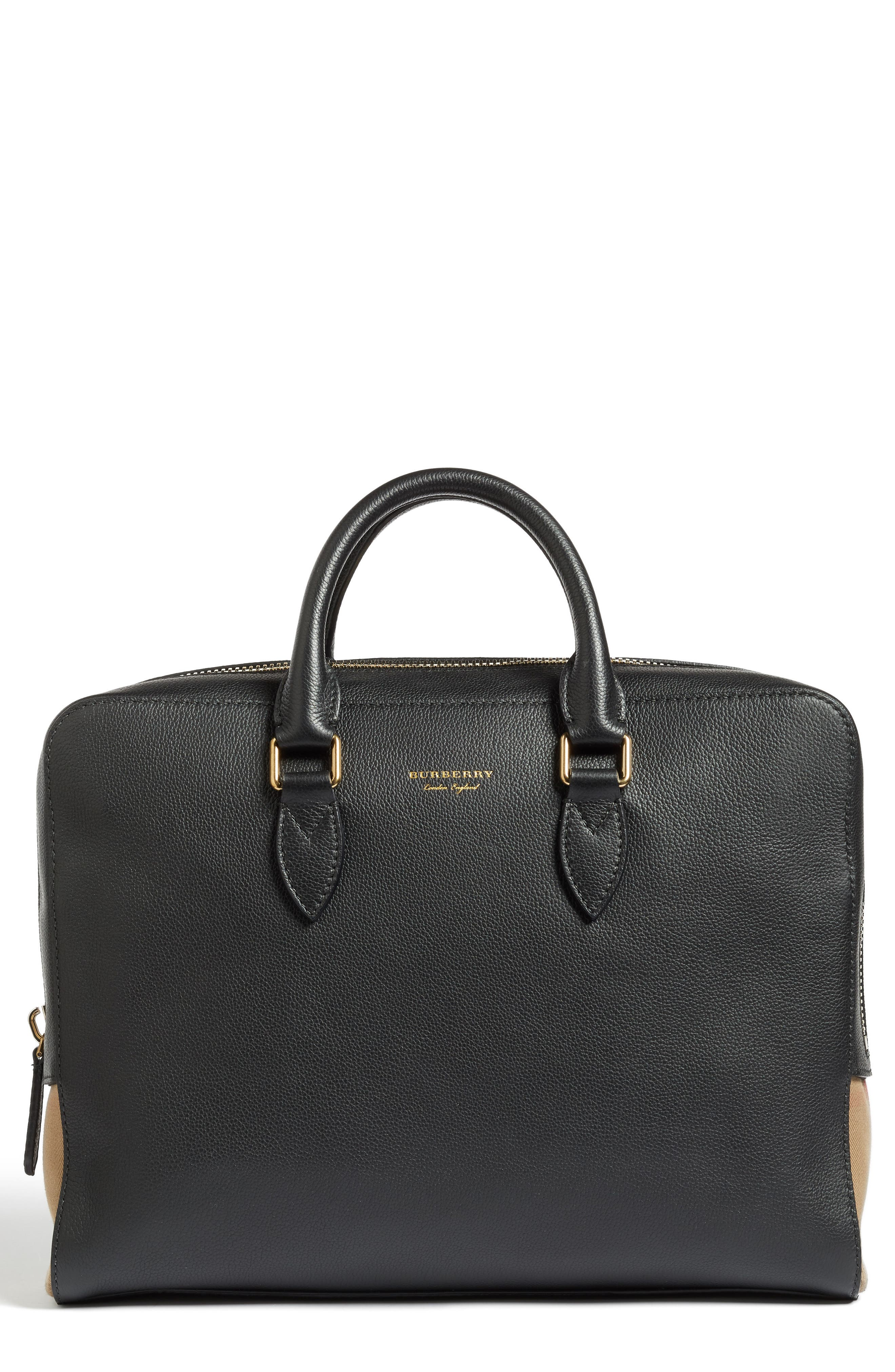 Horton Leather Briefcase,                             Main thumbnail 1, color,                             001