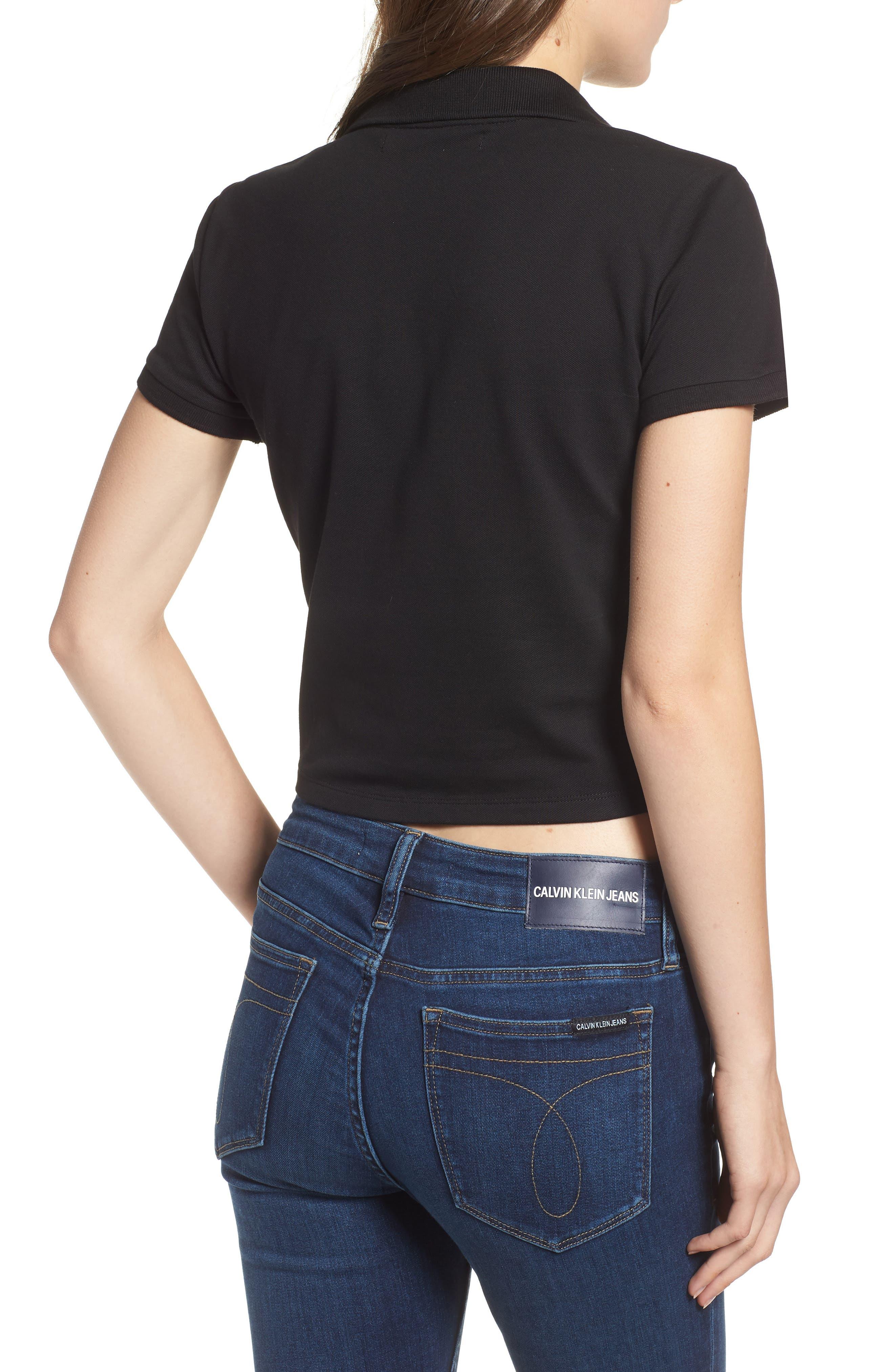 Crop Stretch Cotton Polo Shirt,                             Alternate thumbnail 2, color,                             001