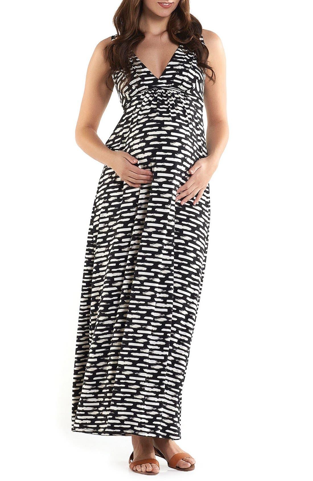 'Chloe' Maternity Maxi Dress,                         Main,                         color, BRUSHSTROKES