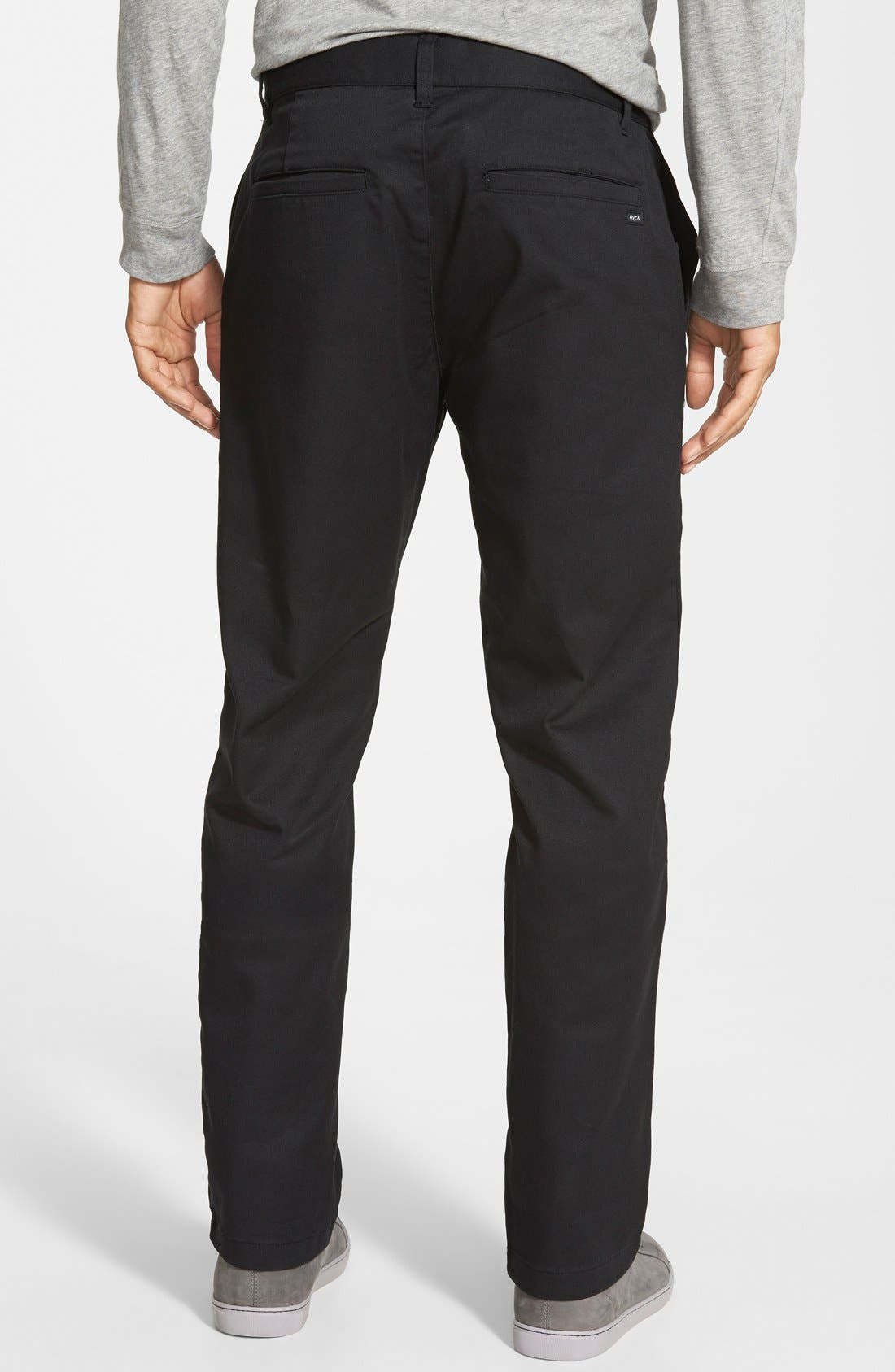 'The Week-End' Slim Straight Leg Stretch Twill Chinos,                             Alternate thumbnail 2, color,                             BLACK