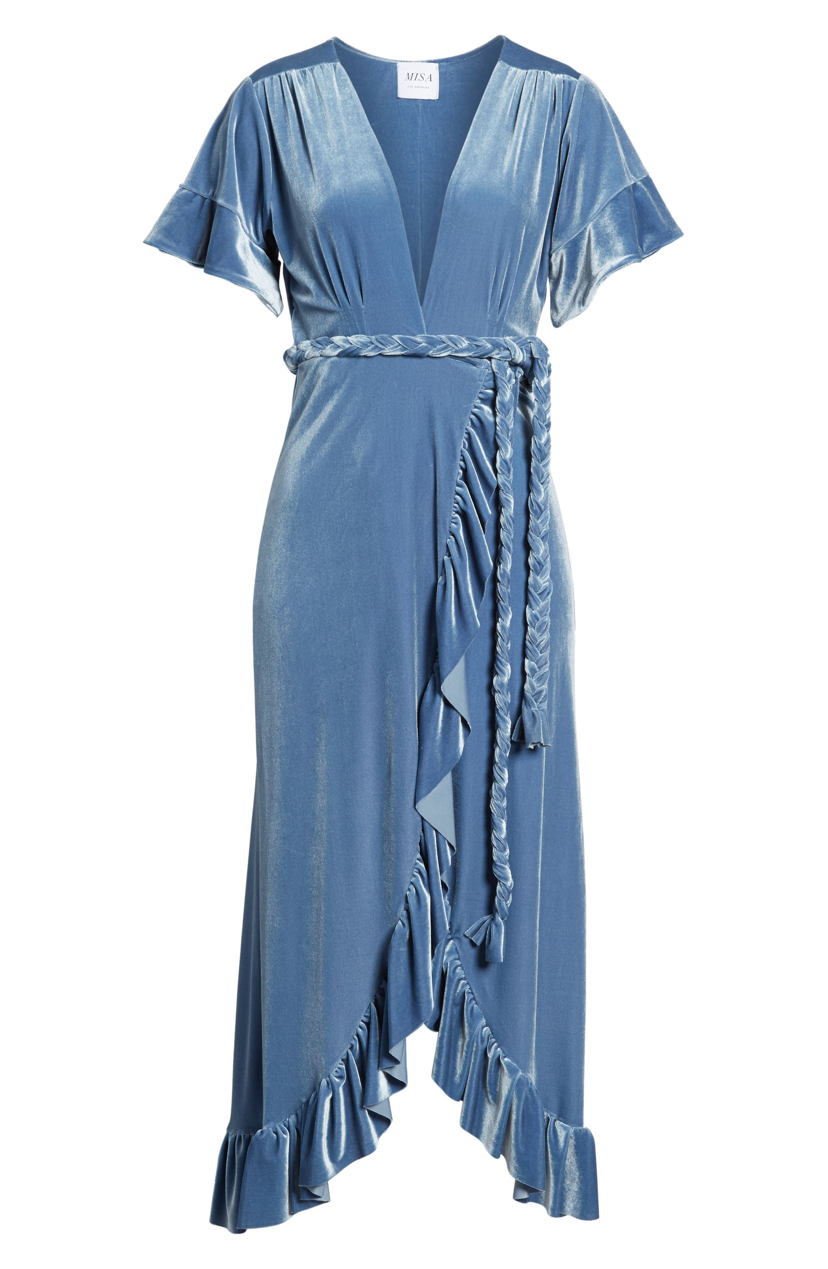 Selina Velvet Wrap Dress,                             Alternate thumbnail 6, color,                             400