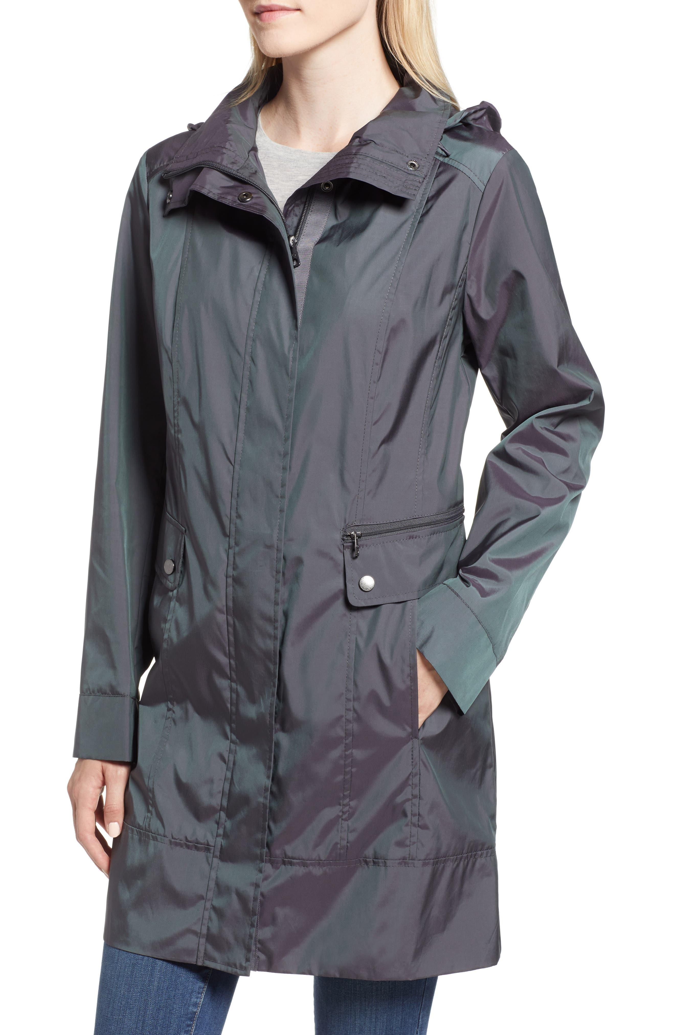 Back Bow Packable Hooded Raincoat,                             Alternate thumbnail 4, color,                             GUNMETAL