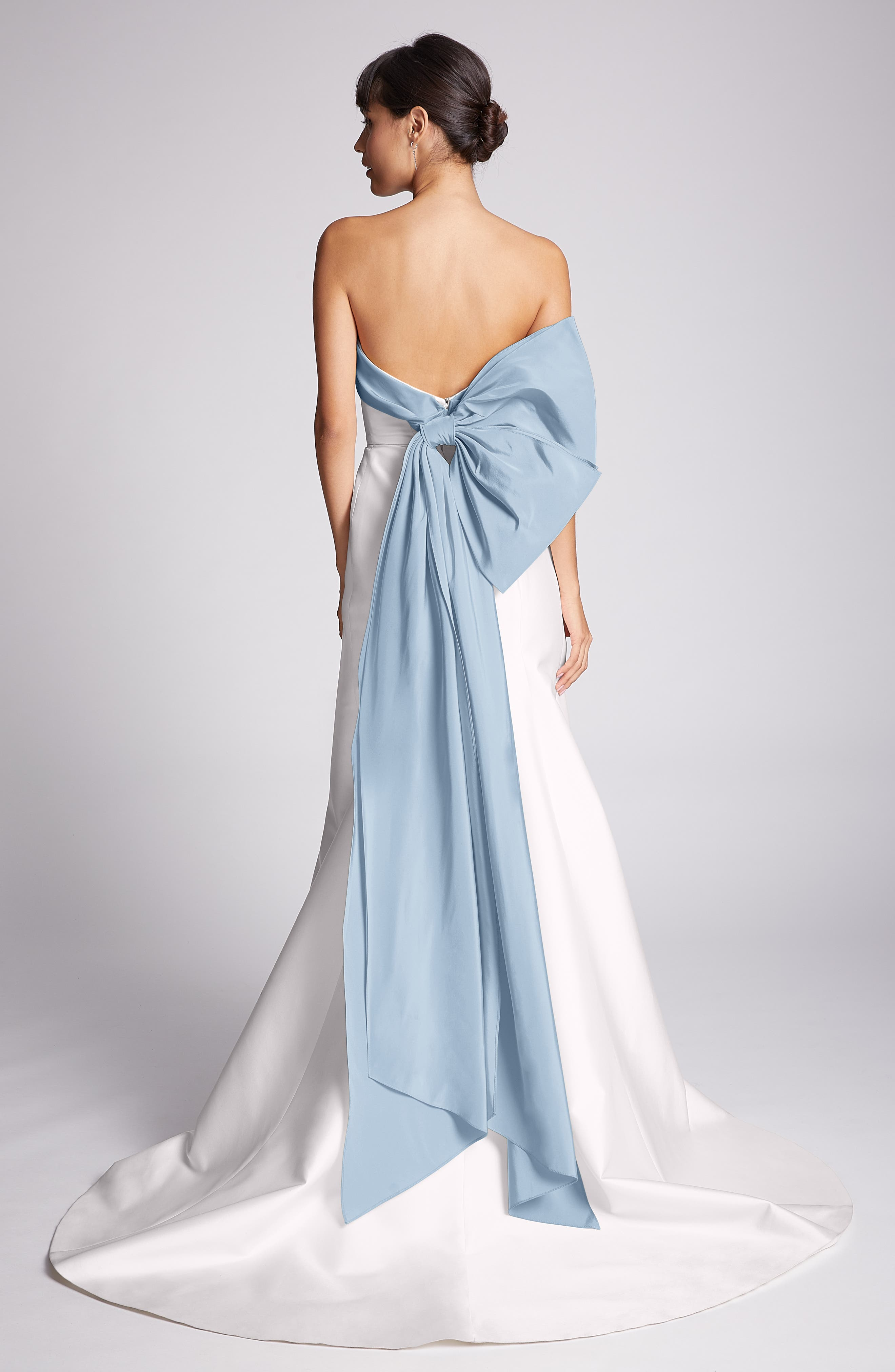 Carolina Herrera Hunter Strapless Silk Mikado A-Line Gown, Size - Blue
