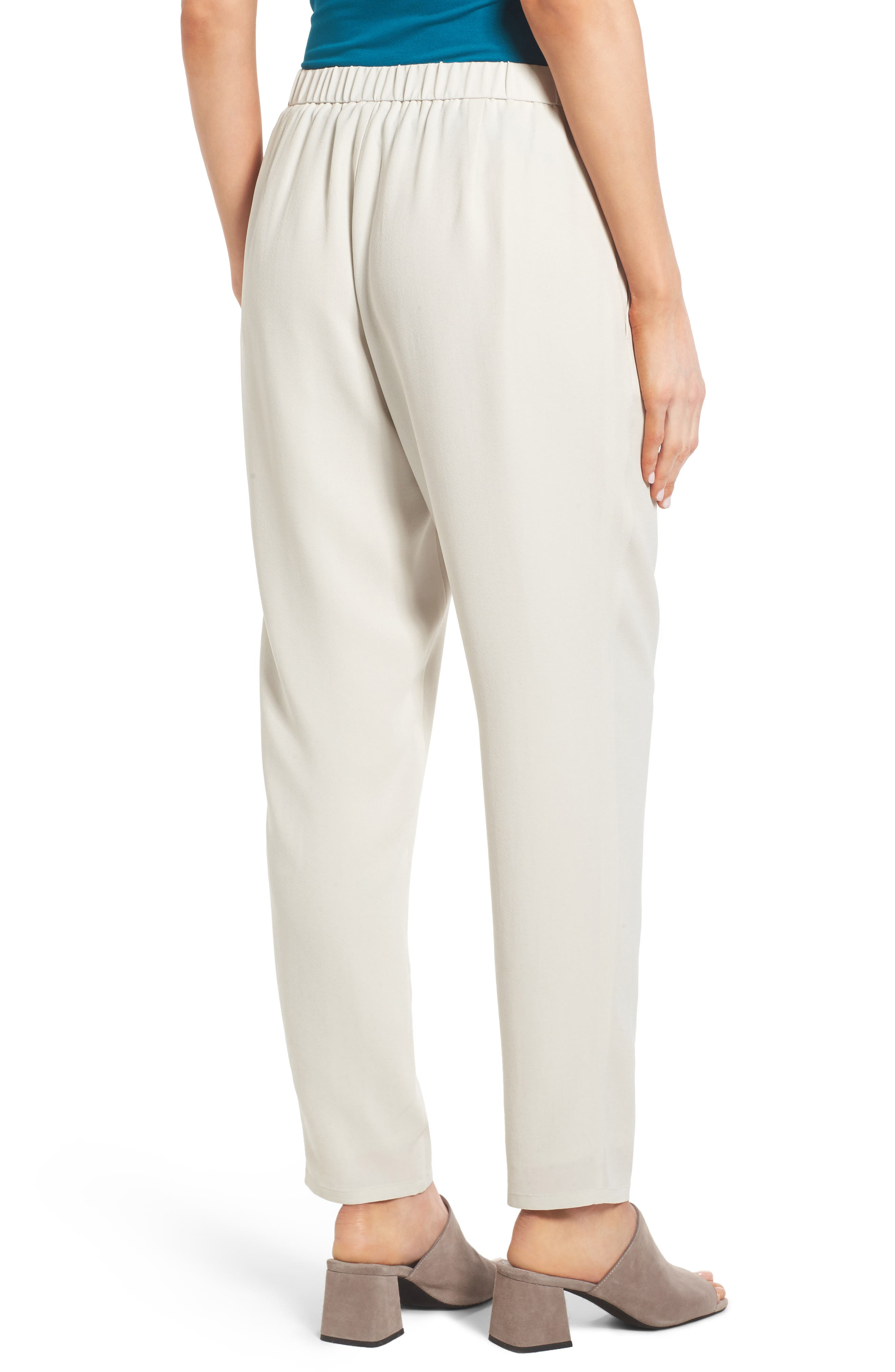 Slouchy Silk Crepe Ankle Pants,                             Alternate thumbnail 18, color,