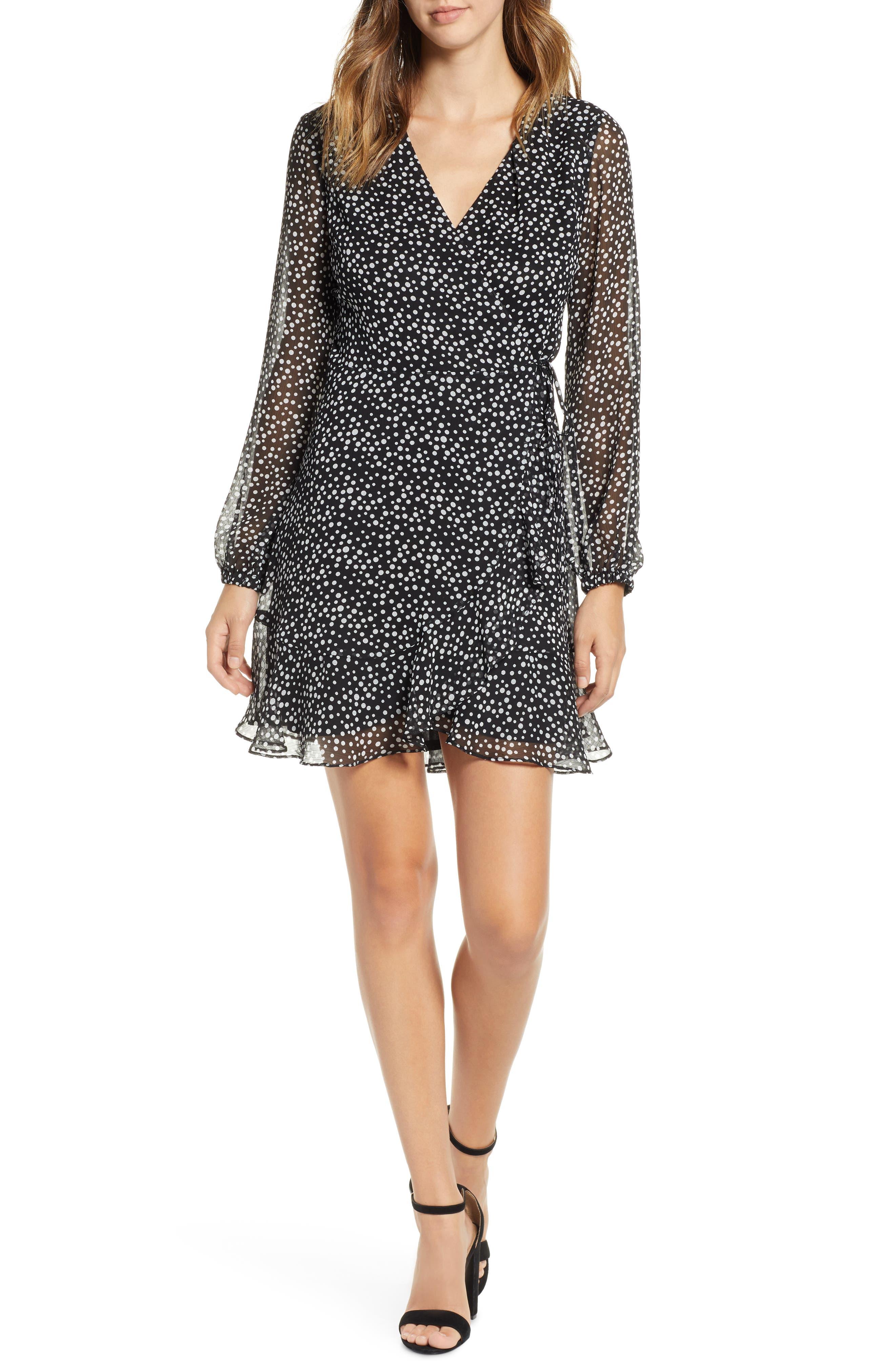 Brittany Wrap Minidress,                             Main thumbnail 1, color,                             BLACK WHITE DOT