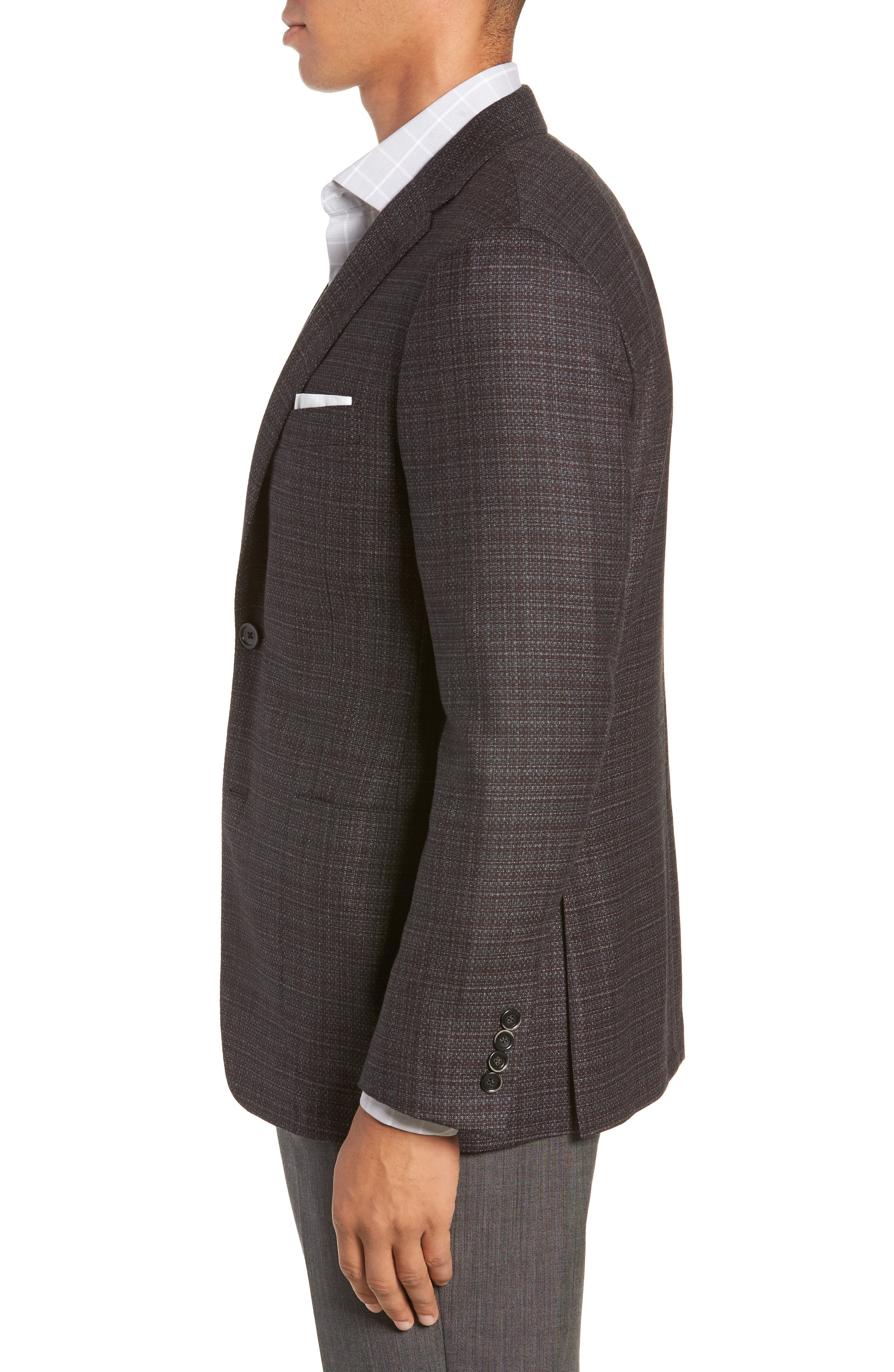 Classic Fit Plaid Wool Sport Coat,                             Alternate thumbnail 3, color,                             GREY